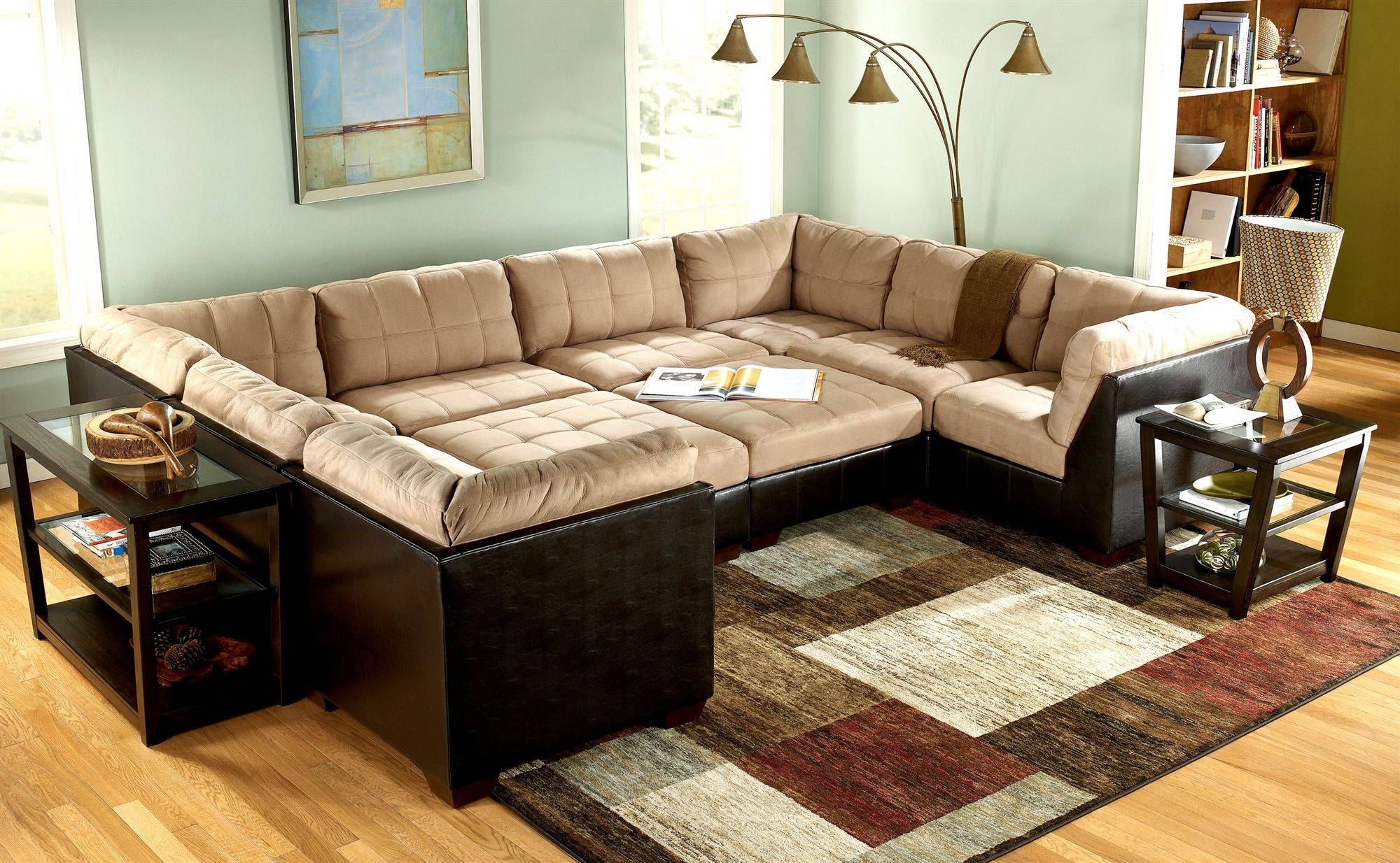 Furniture: Charming In Cheap Sectional Sofas In Cream And Black On regarding Black Sectional Sofa for Cheap (Image 7 of 30)