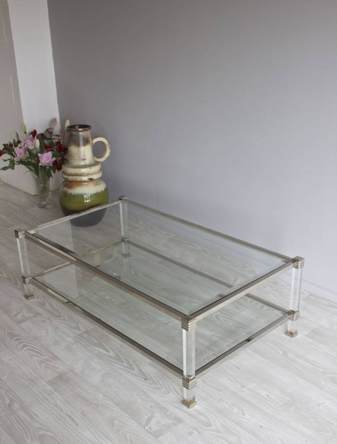 Furniture: Charming Lucite Coffee Table For Luxury Living Room inside Round Chrome Coffee Tables (Image 12 of 30)