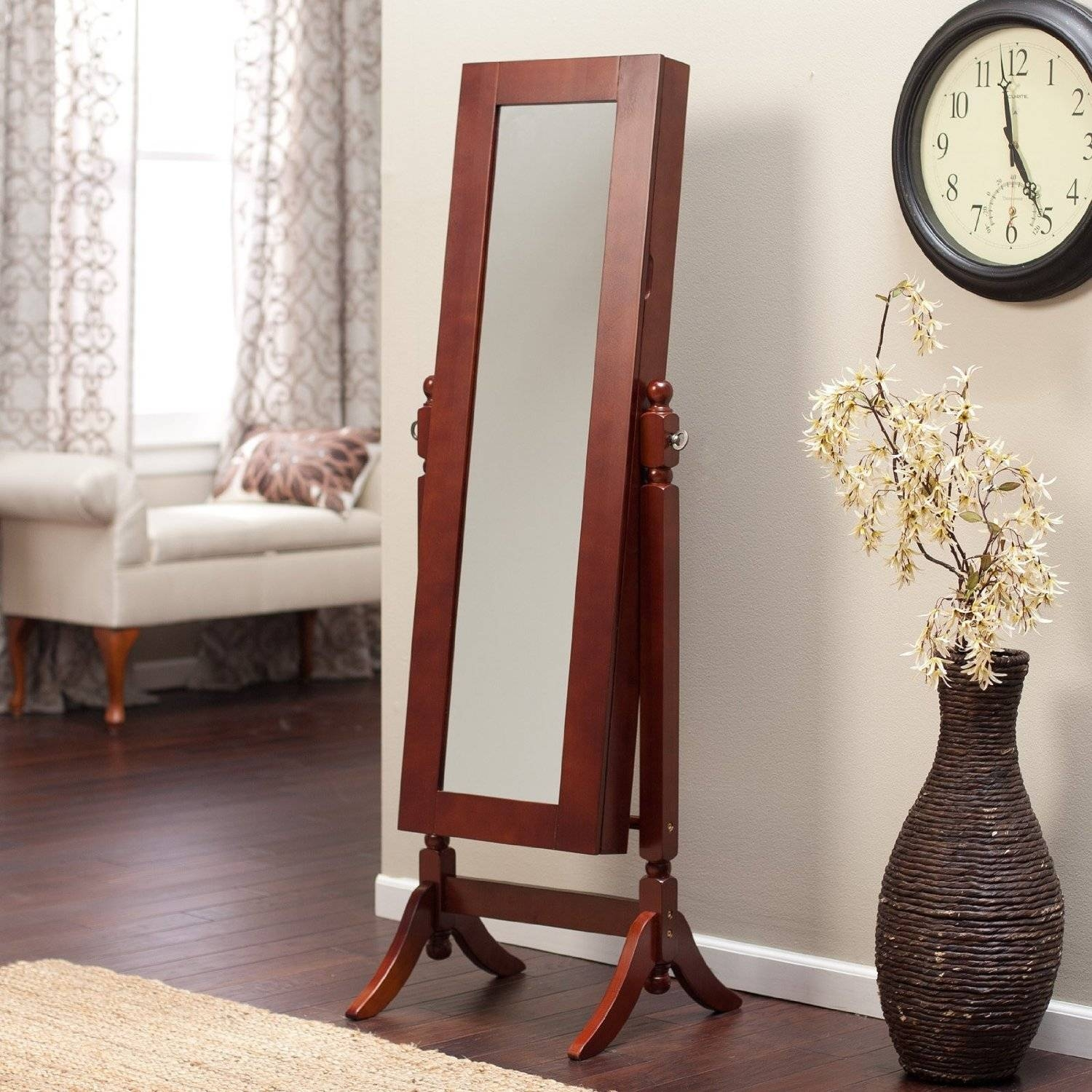 Furniture: Cherry Full Length Mirror Jewelry Armoire With Drawers regarding Full Length Free Standing Mirrors With Drawer (Image 19 of 25)