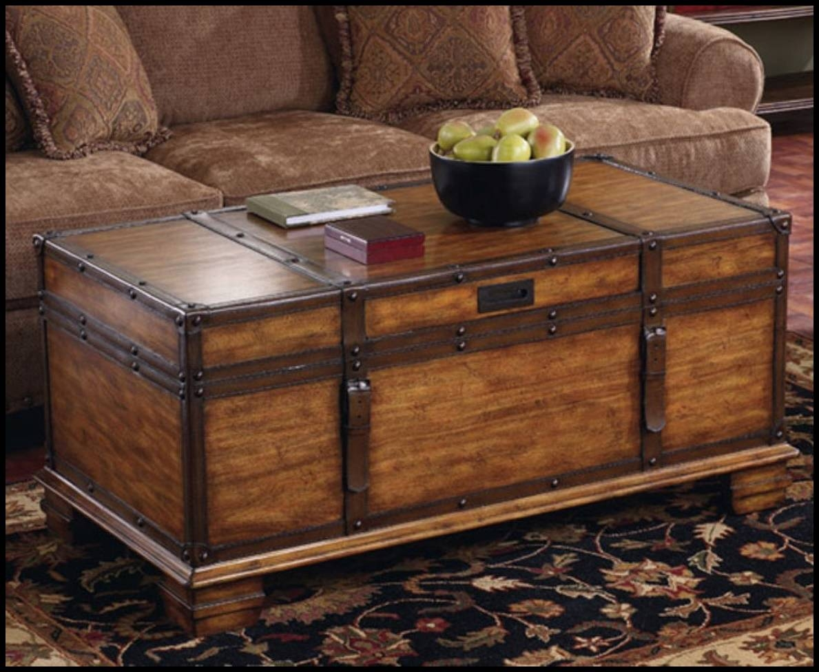 Furniture: Chest Coffee Table Steamer Trunk Side Table Wooden inside Trunk Chest Coffee Tables (Image 15 of 30)