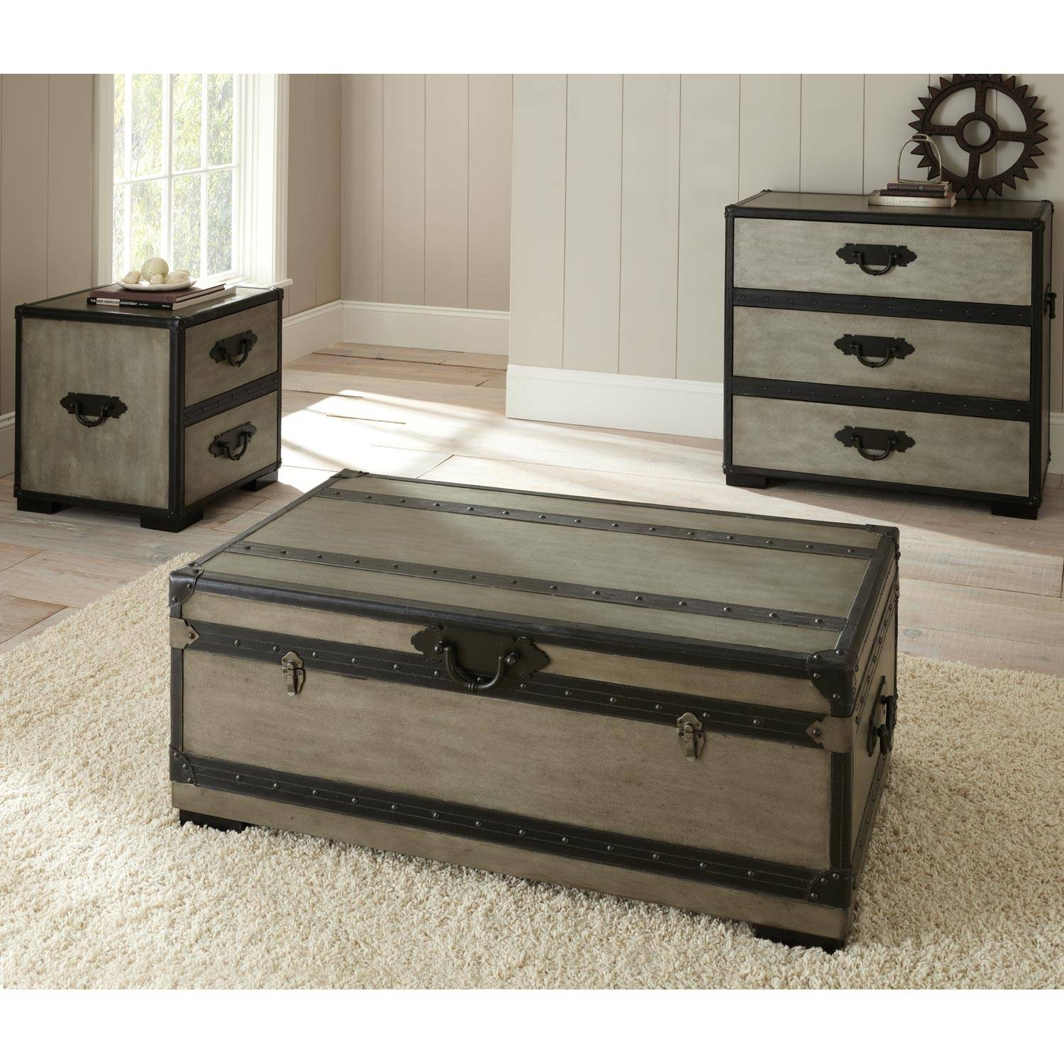 Furniture: Chest Coffee Table | Steamer Trunk Side Table | Wooden with regard to Wooden Trunks Coffee Tables (Image 12 of 30)