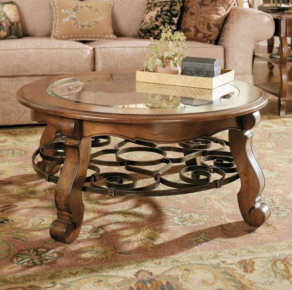 Furniture: Classic Small And Low Round Coffee Table With Glass Top regarding Cheap Coffee Tables With Storage (Image 16 of 30)