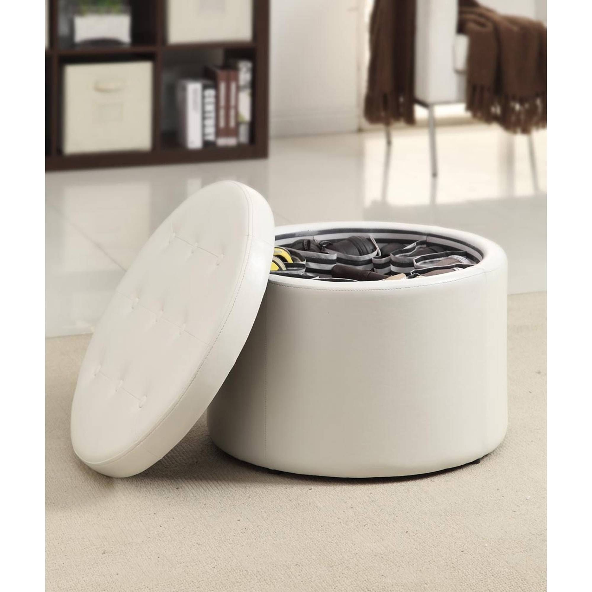 Furniture: Coffee Table Ottoman Storage With Round White Storage within Purple Ottoman Coffee Tables (Image 9 of 30)