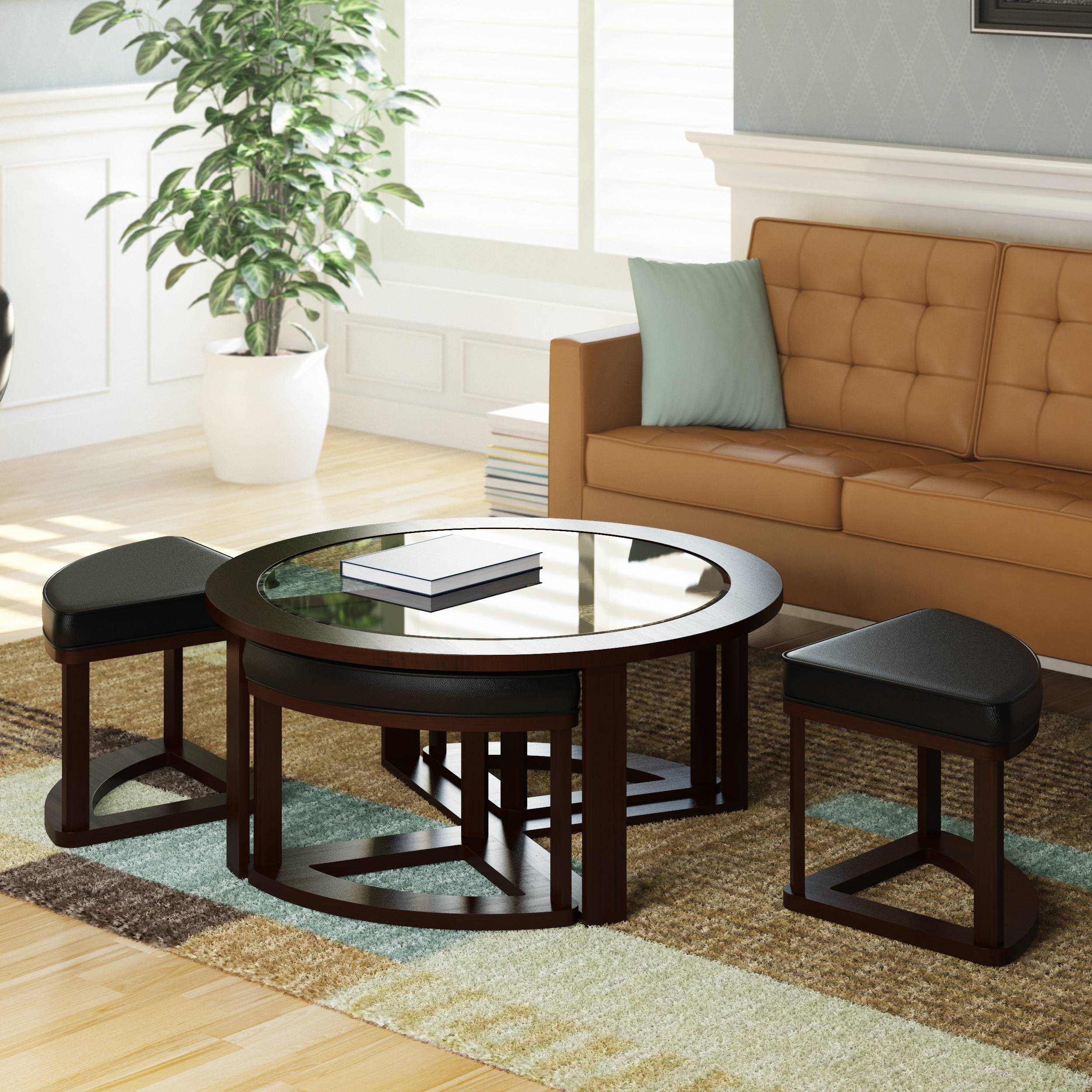 Furniture: Coffee Table With Nesting Stools Coffee Table With Stools Within Coffee Tables With Nesting Stools (View 6 of 30)
