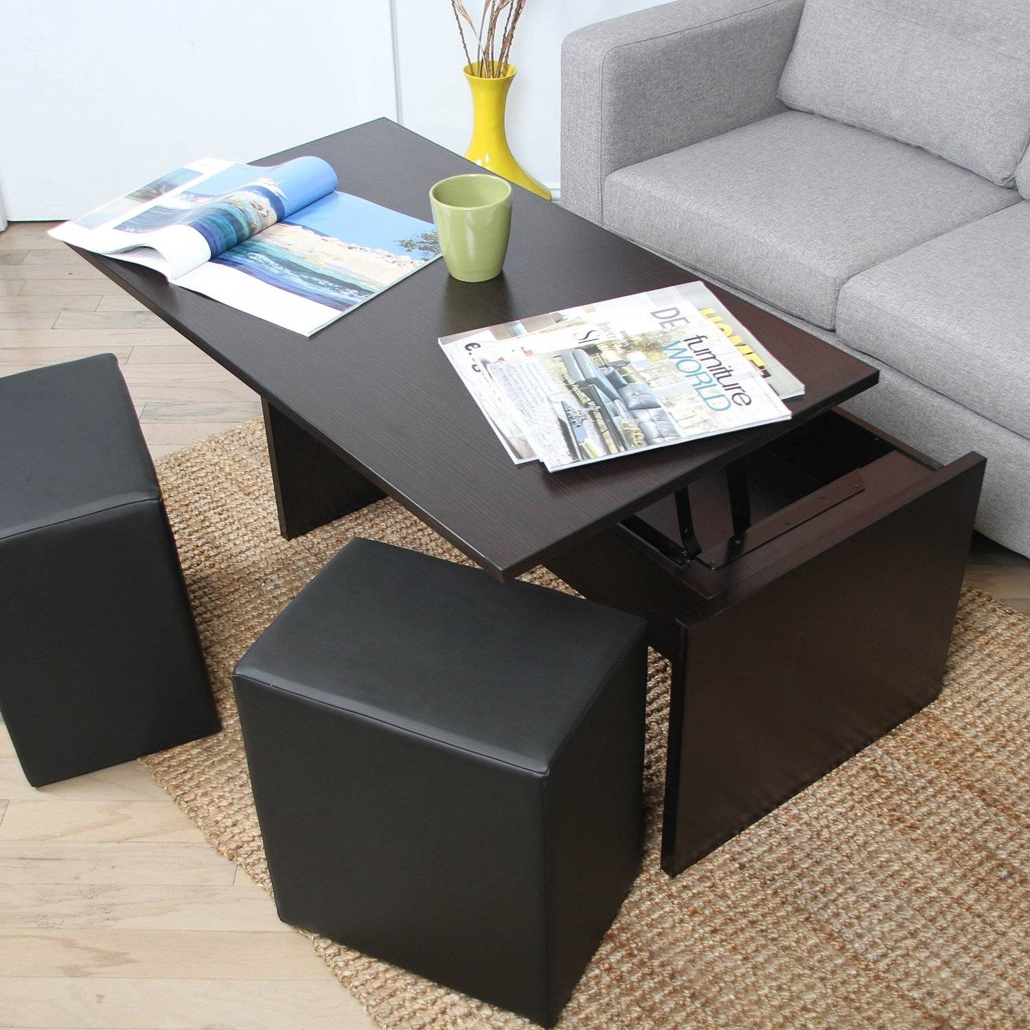 Furniture: Coffee Table With Stools Underneath | Ashley Coffee with Coffee Tables With Basket Storage Underneath (Image 15 of 30)