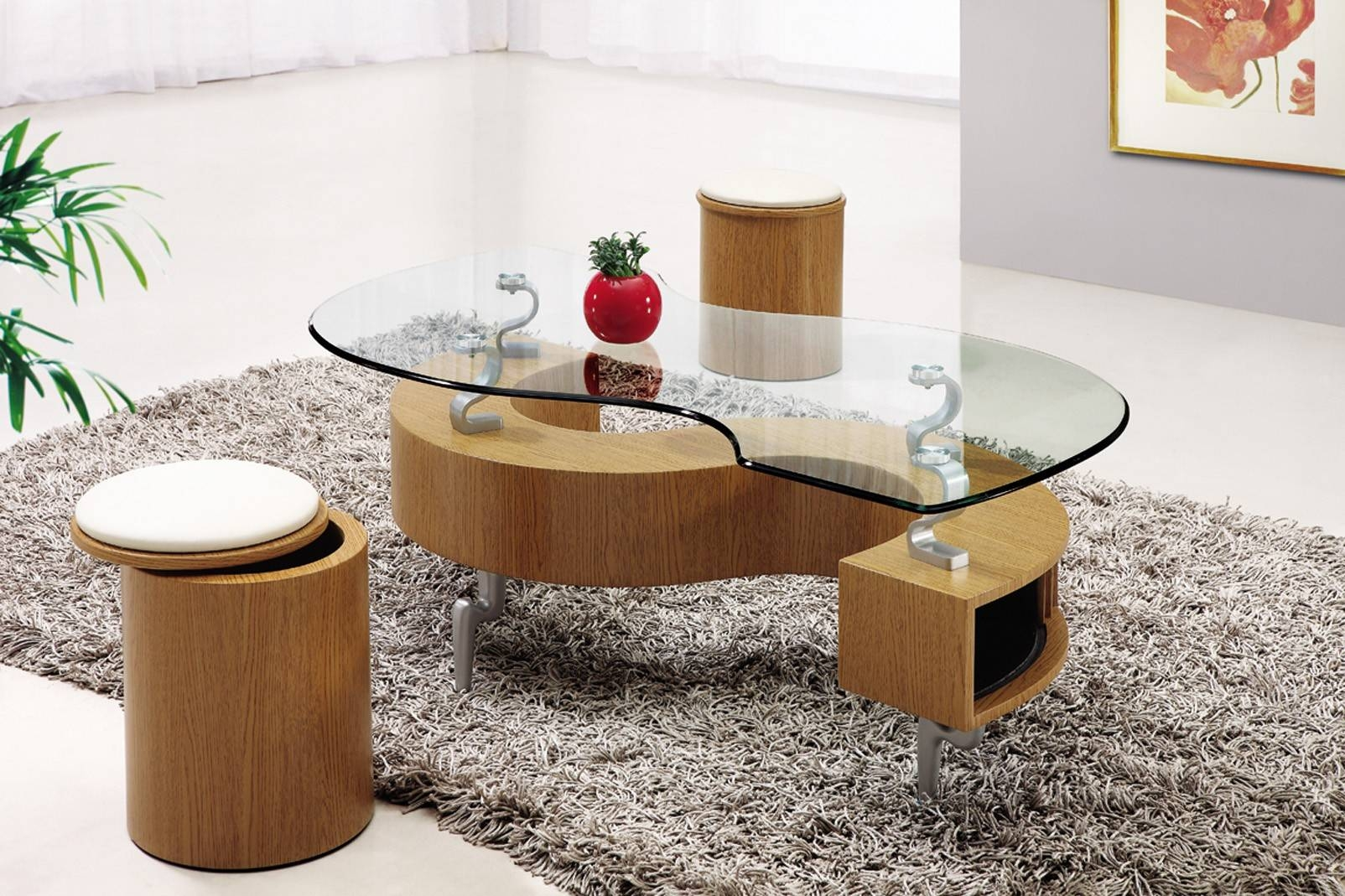 Furniture: Coffee Table With Stools Underneath | Coffee Table regarding Oval Shaped Glass Coffee Tables (Image 15 of 30)