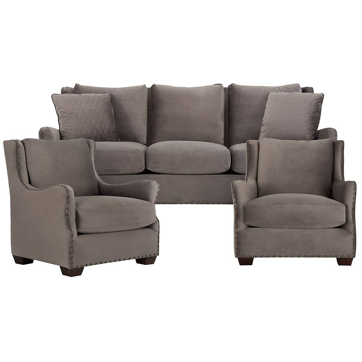 Furniture: Comfortable Gray Microfiber Couch For Elegant Living for Gray Leather Sectional Sofas (Image 12 of 30)