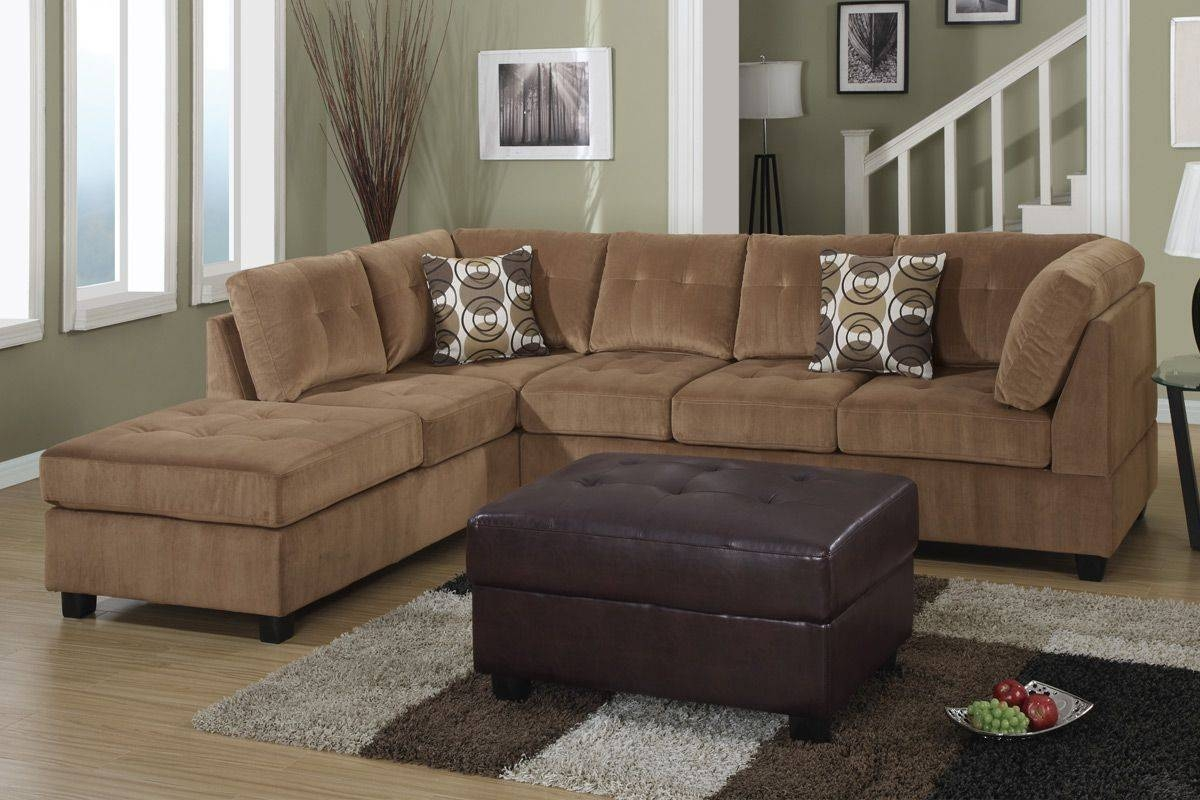 Furniture: Comfortable Gray Microfiber Couch For Elegant Living pertaining to Leather And Suede Sectional Sofa (Image 5 of 25)