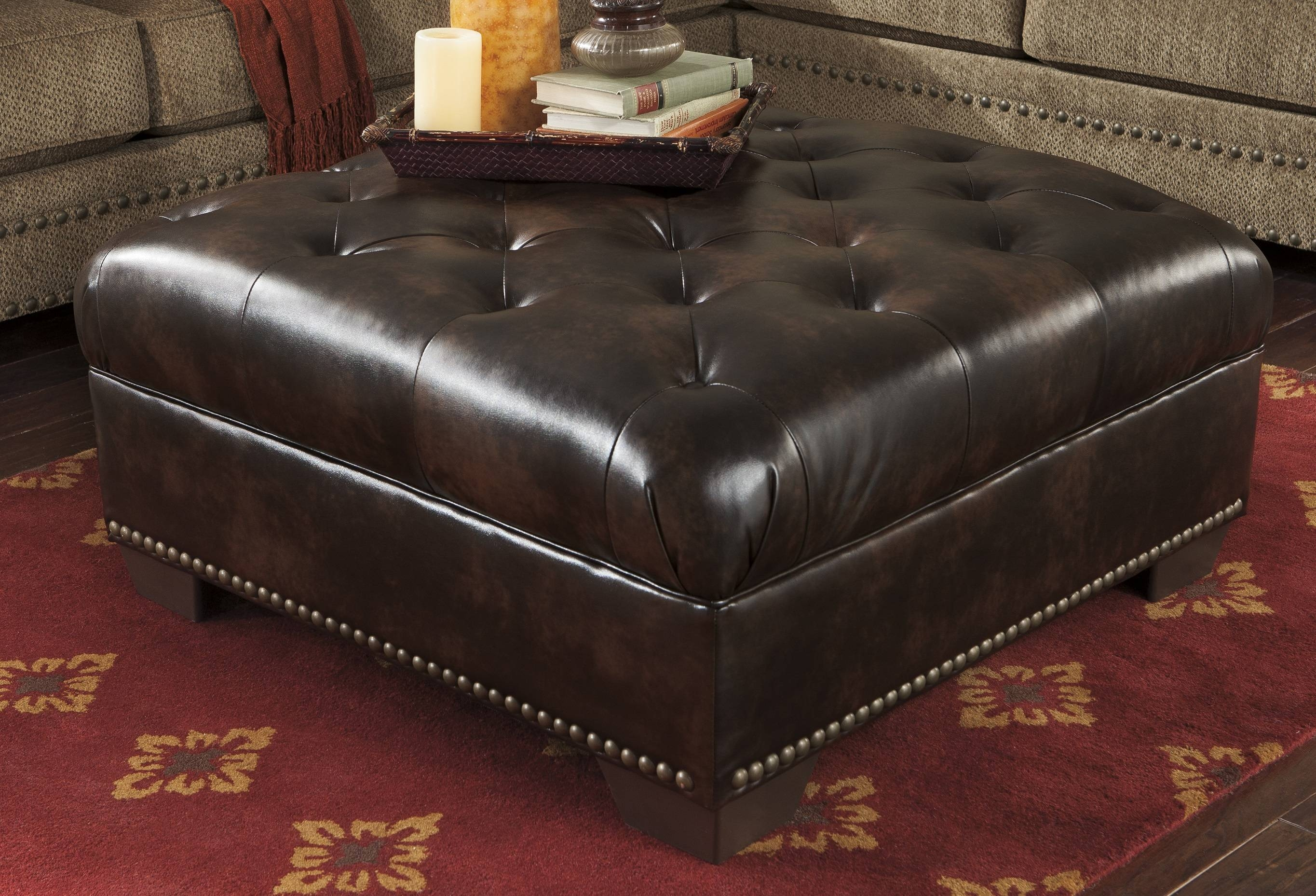 Furniture: Cool Fabric Upholstery Oversized Ottoman With Sectional with Sectional Sofa With Oversized Ottoman (Image 9 of 30)