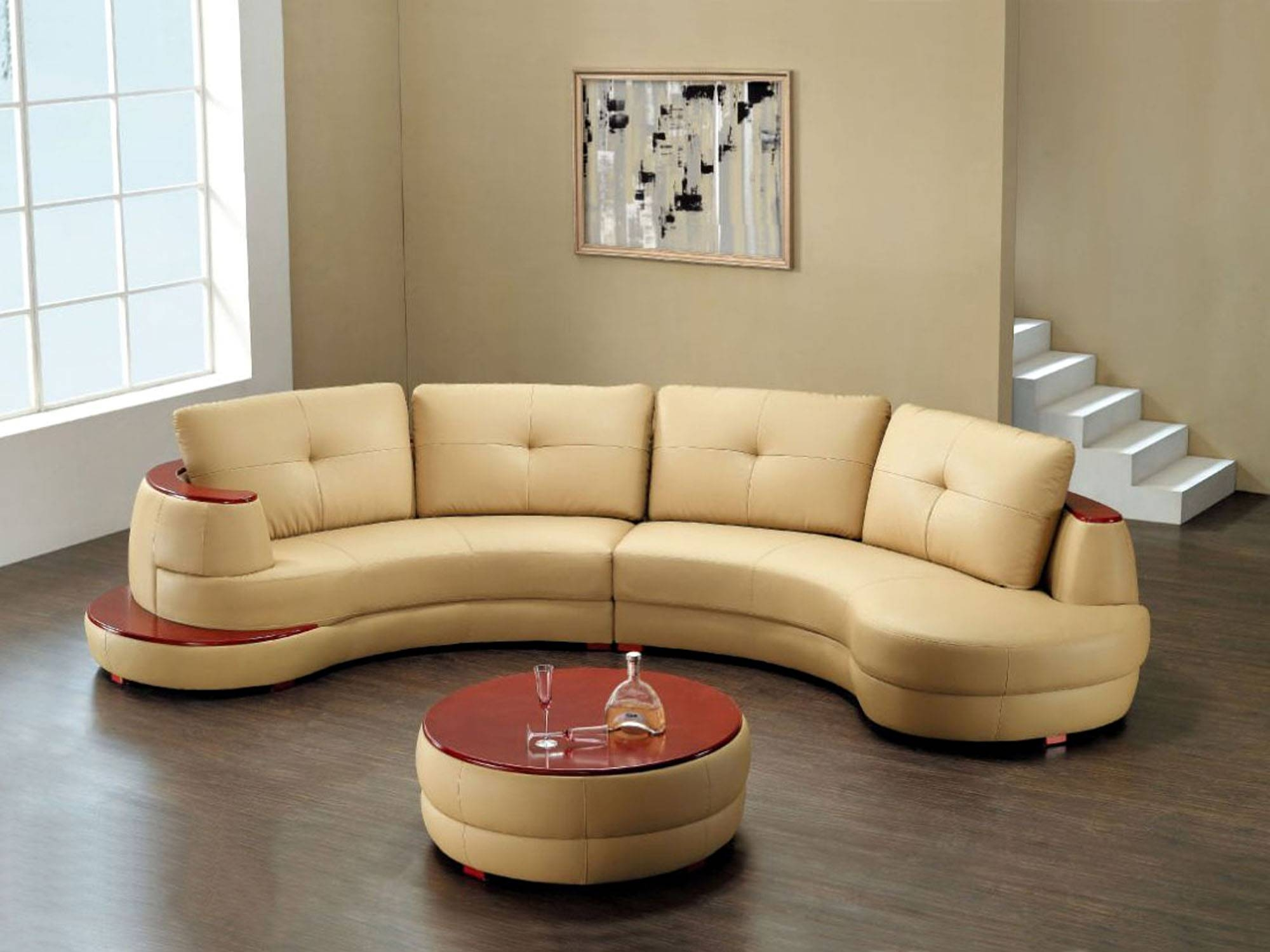 Furniture: Cozy Beige Couch Design For Classic Living Room Ideas intended for Circular Sofa Chairs (Image 7 of 30)