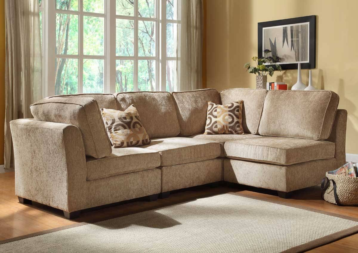 Furniture: Cozy Beige Couch Design For Classic Living Room Ideas regarding Chenille And Leather Sectional Sofa (Image 10 of 30)