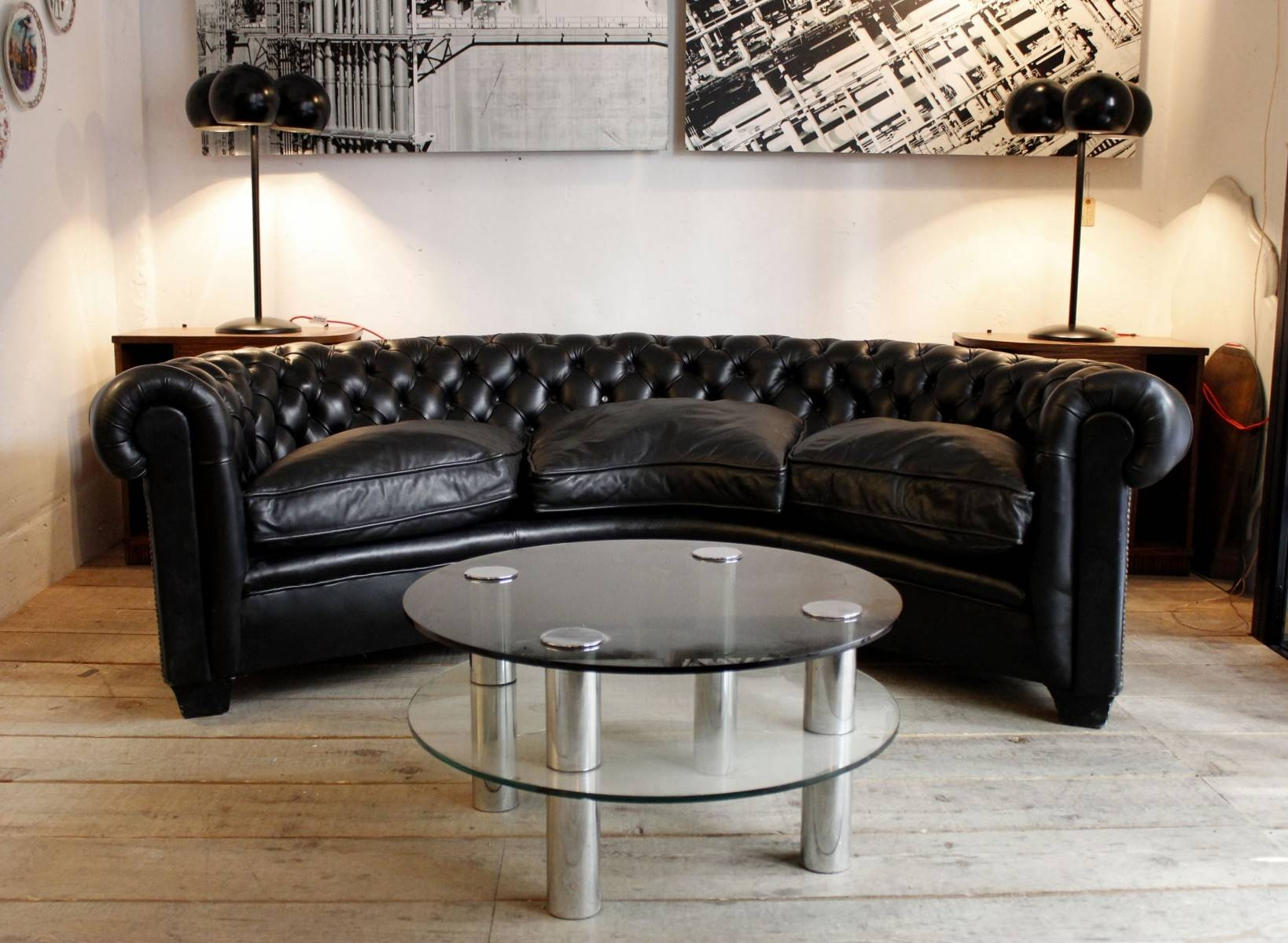 Furniture: Cozy Leather Chesterfield Sofa For Living Room Design for Chesterfield Black Sofas (Image 13 of 30)