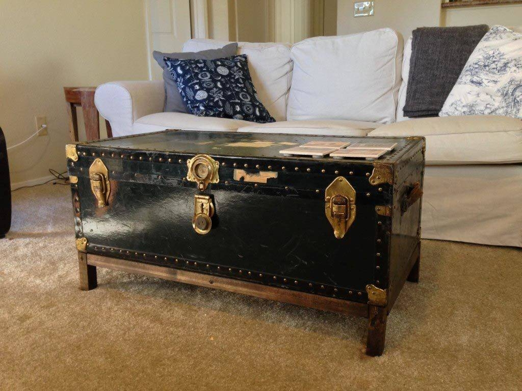 Furniture. Cozy Vintage Trunk Coffee Table Ideas: Silver And Brown with Silver Trunk Coffee Tables (Image 11 of 30)