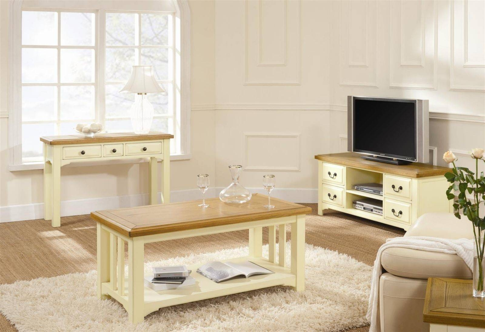 Furniture. Cream Coffee Table Ideas: Rectangle Modern Wooden Cream with Cream and Oak Coffee Tables (Image 18 of 30)