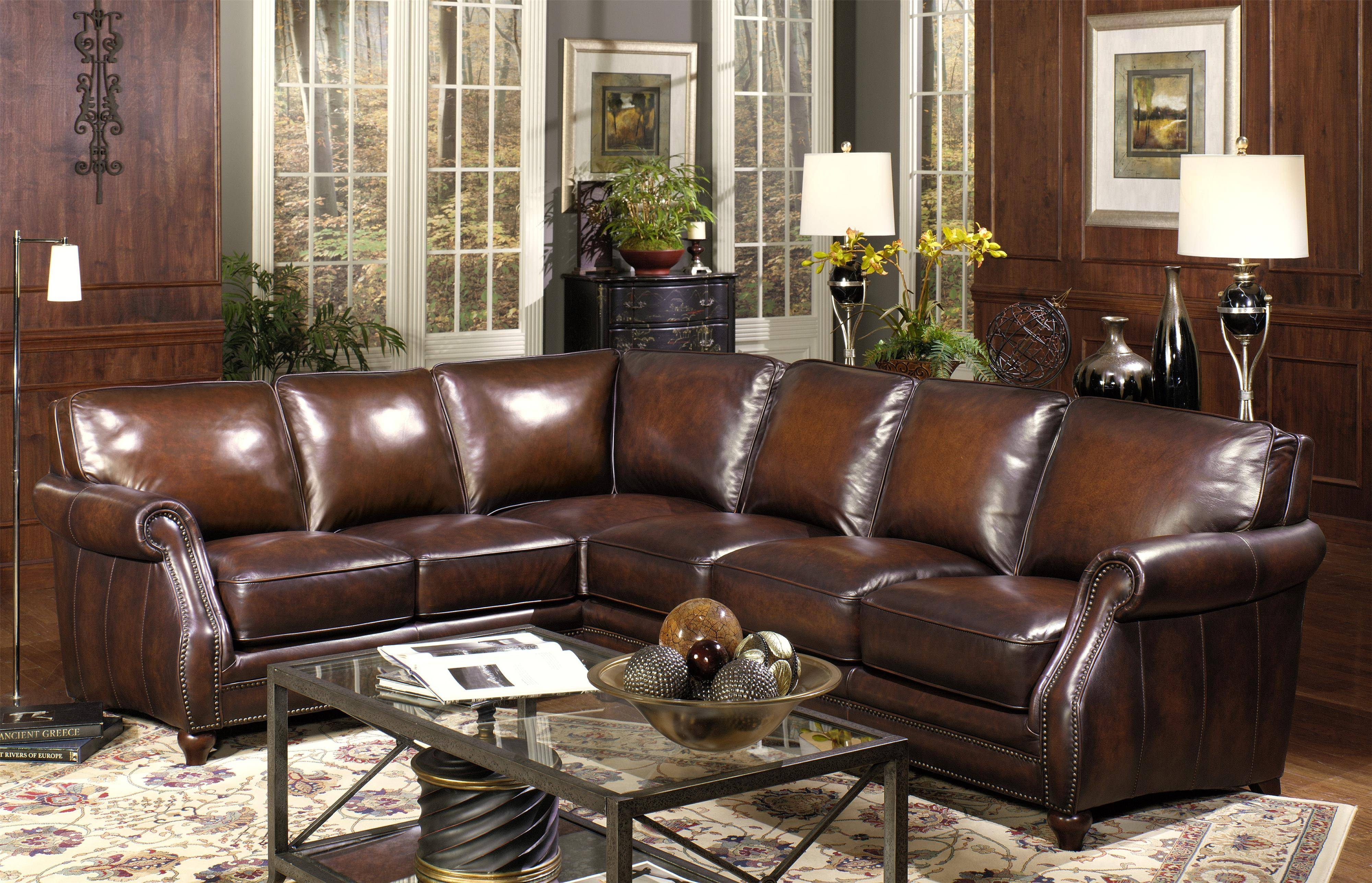 Furniture. Dark Brown Leather Sectional Sofa Combined Brown Wooden inside Classic Sectional Sofas (Image 13 of 30)