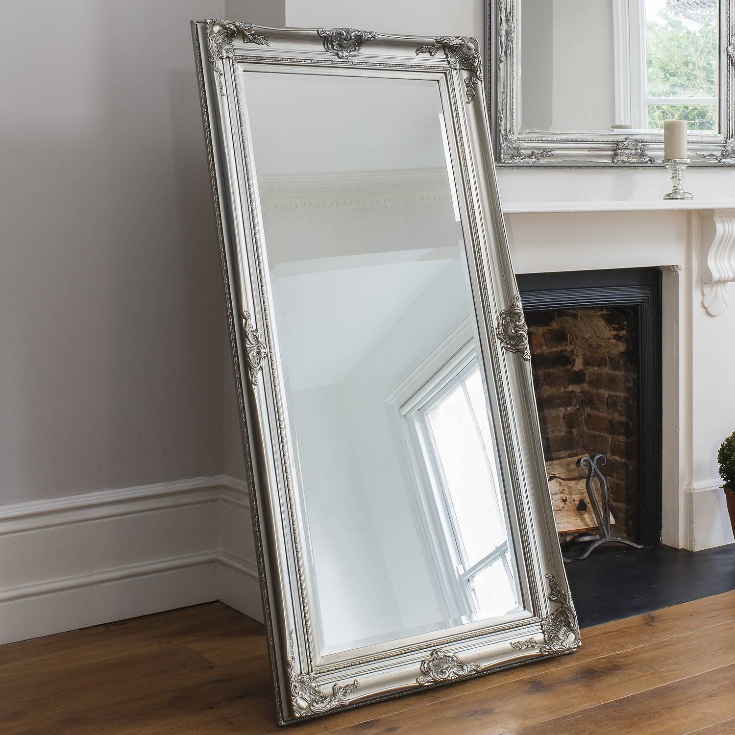 Furniture: Demetria Leaner Mirror With Wooden Floor And Curtains within Huge Mirrors For Cheap (Image 17 of 25)
