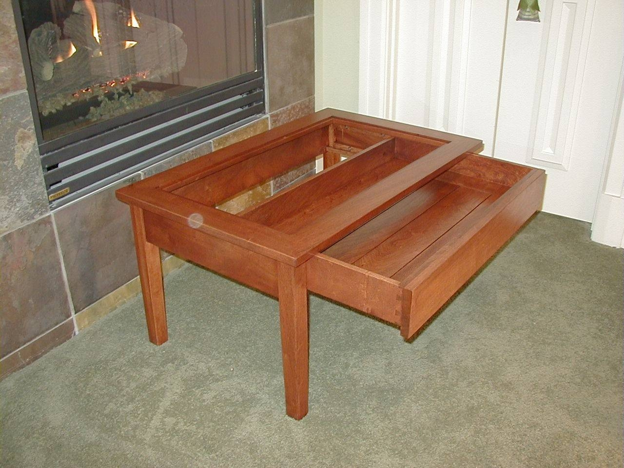 Furniture. Display Case Coffee Table Ideas: Brown Square Antique with Glass Top Display Coffee Tables With Drawers (Image 20 of 30)