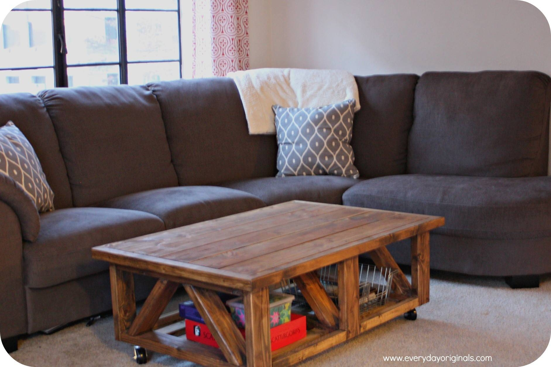 Furniture. Diy Rustic Coffee Table Ideas: Brown Rectangle Wood Diy throughout Rustic Wood Diy Coffee Tables (Image 14 of 30)
