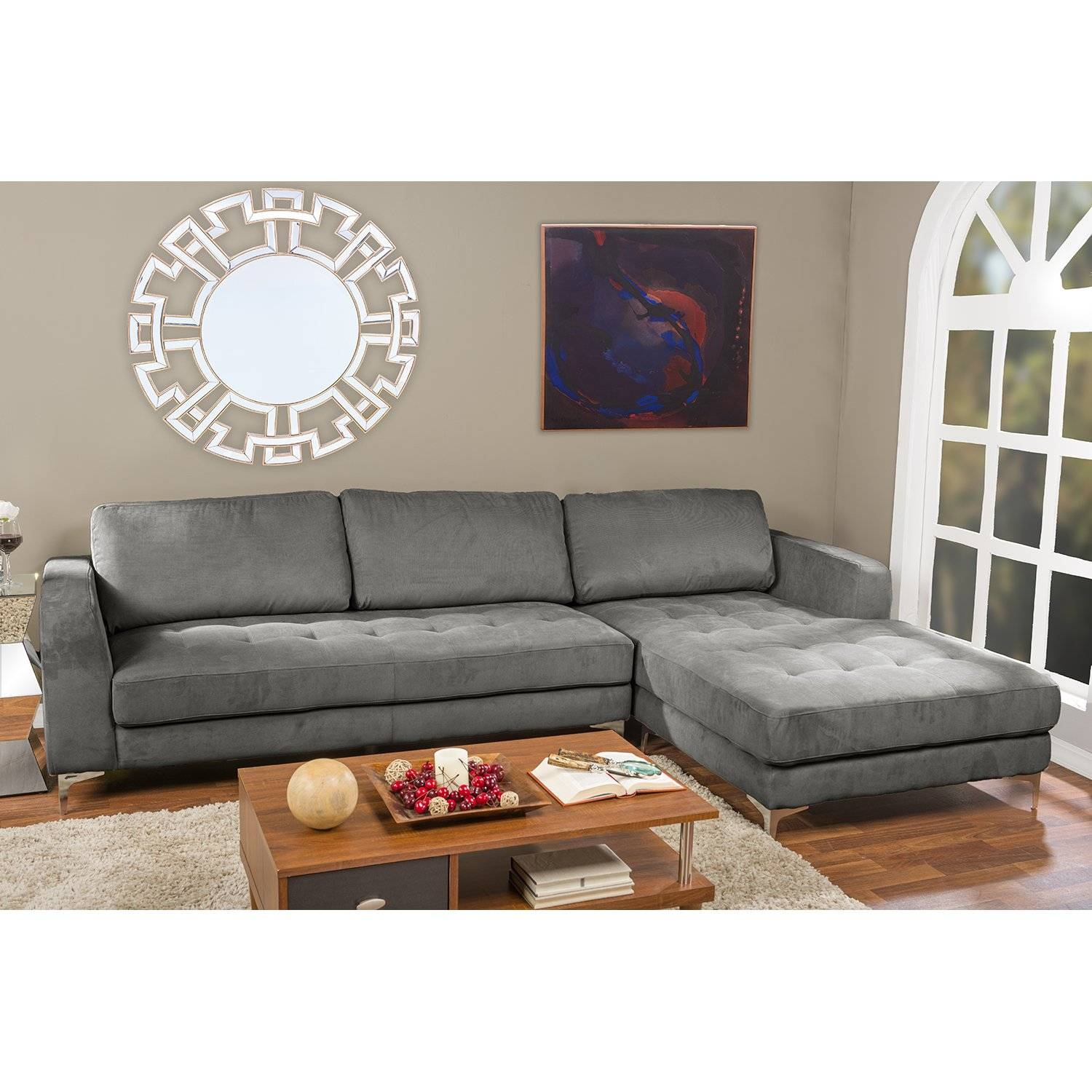 Furniture: Elegant Baxton Studio Sectional For Mid Century Modern Intended For Contemporary Black Leather Sectional Sofa Left Side Chaise (View 21 of 30)