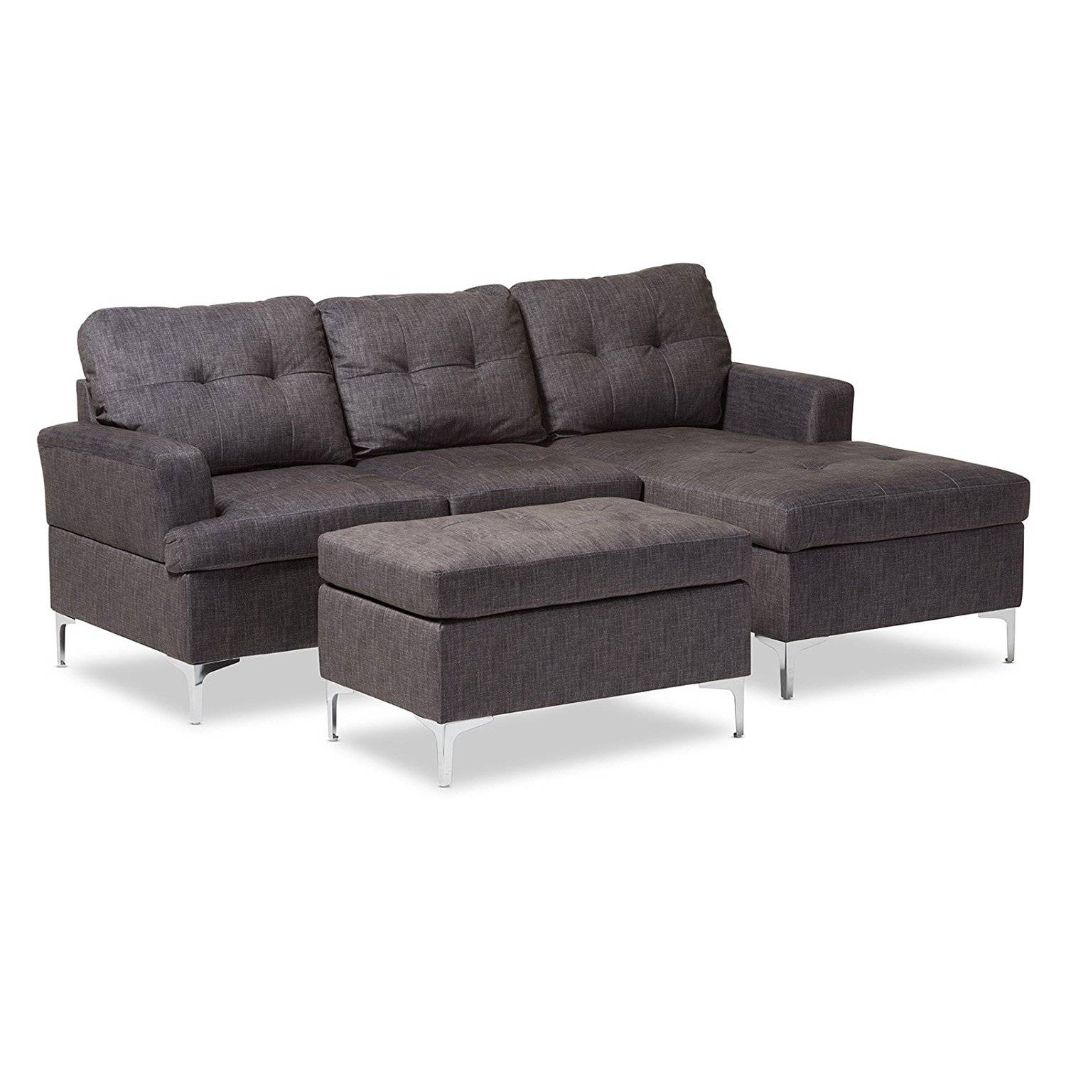 Furniture: Elegant Baxton Studio Sectional For Mid Century Modern with Dobson Sectional Sofa (Image 13 of 30)