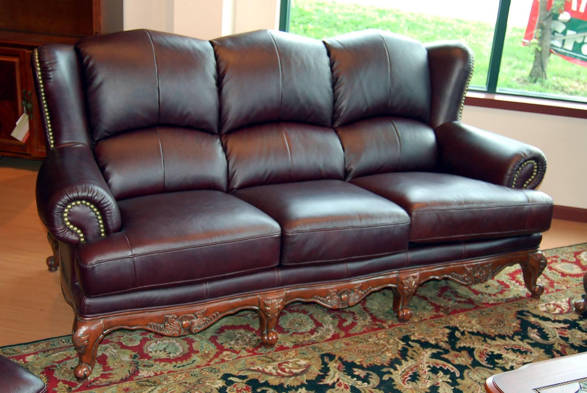 Furniture: Elegant Full Grain Leather Sofa For Luxury Living Room for Full Grain Leather Sofas (Image 16 of 30)