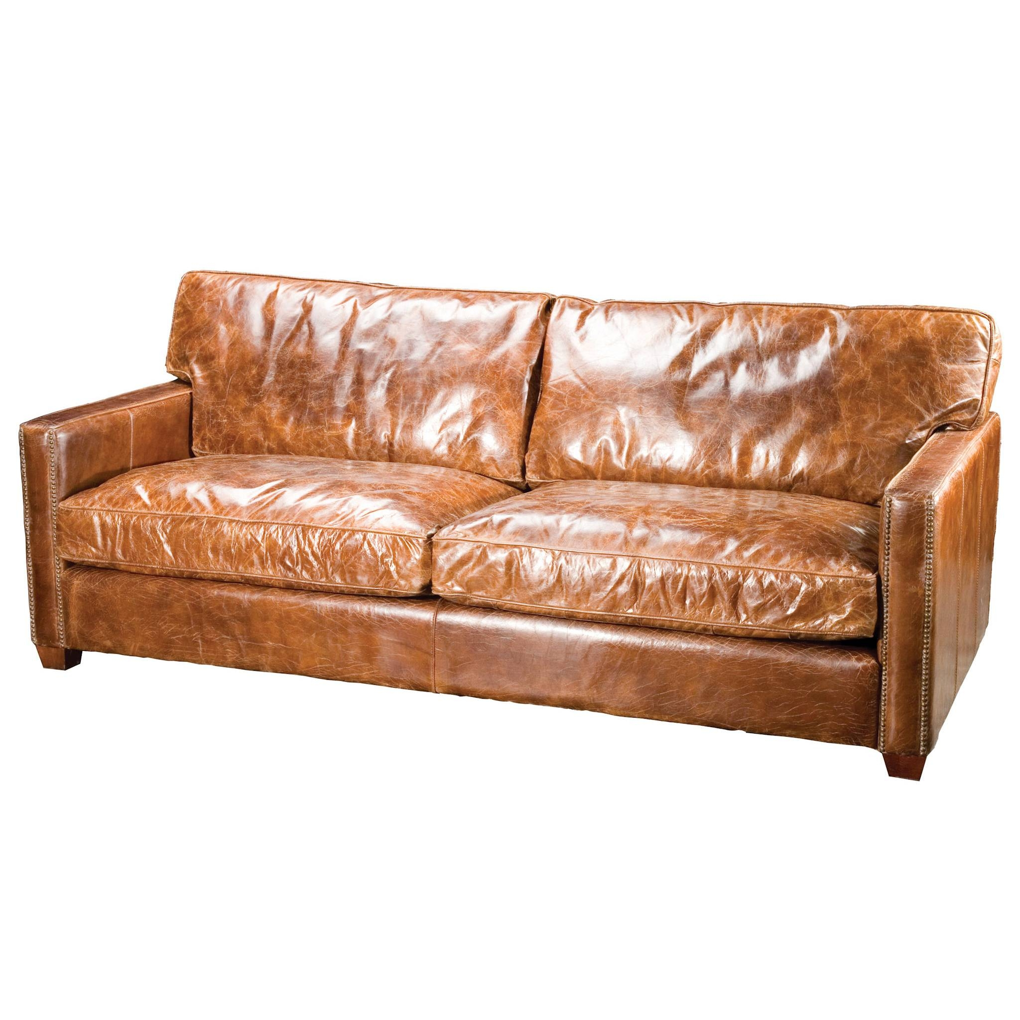 Furniture: Elegant Full Grain Leather Sofa For Luxury Living Room in Vintage Leather Sectional Sofas (Image 18 of 30)