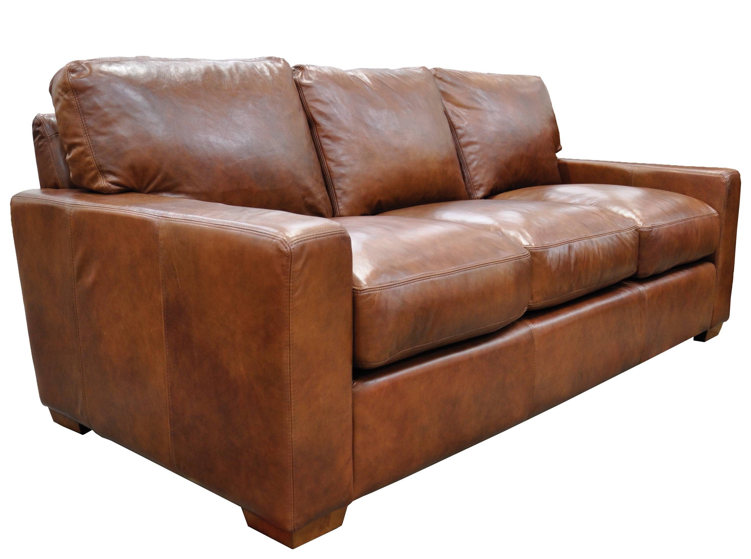 Furniture: Elegant Full Grain Leather Sofa For Luxury Living Room with regard to Aniline Leather Sofas (Image 19 of 30)