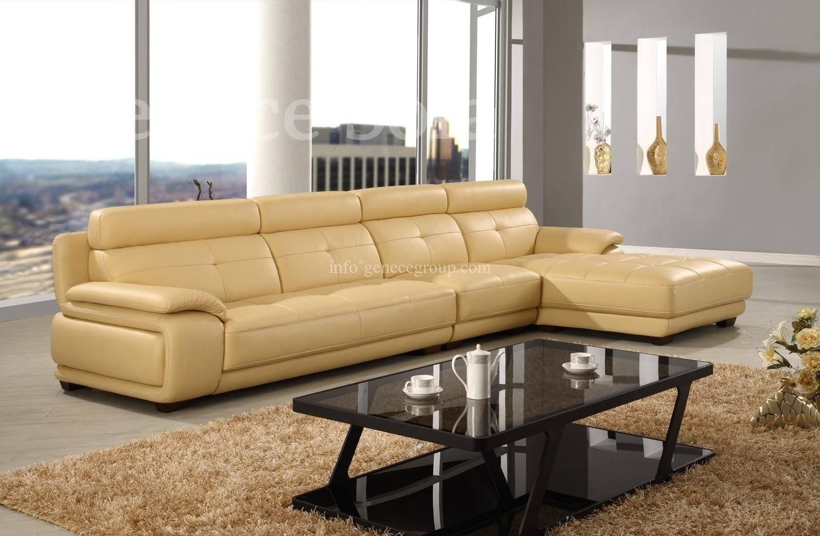 Furniture: Elegant Full Grain Leather Sofa For Luxury Living Room within Aniline Leather Sofas (Image 20 of 30)