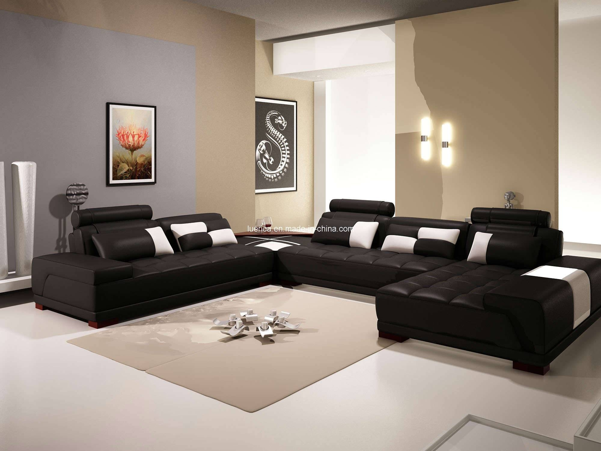 Furniture: Elegant Leather Cheap Sectional Sofas In Black On White regarding Black Sectional Sofa for Cheap (Image 8 of 30)