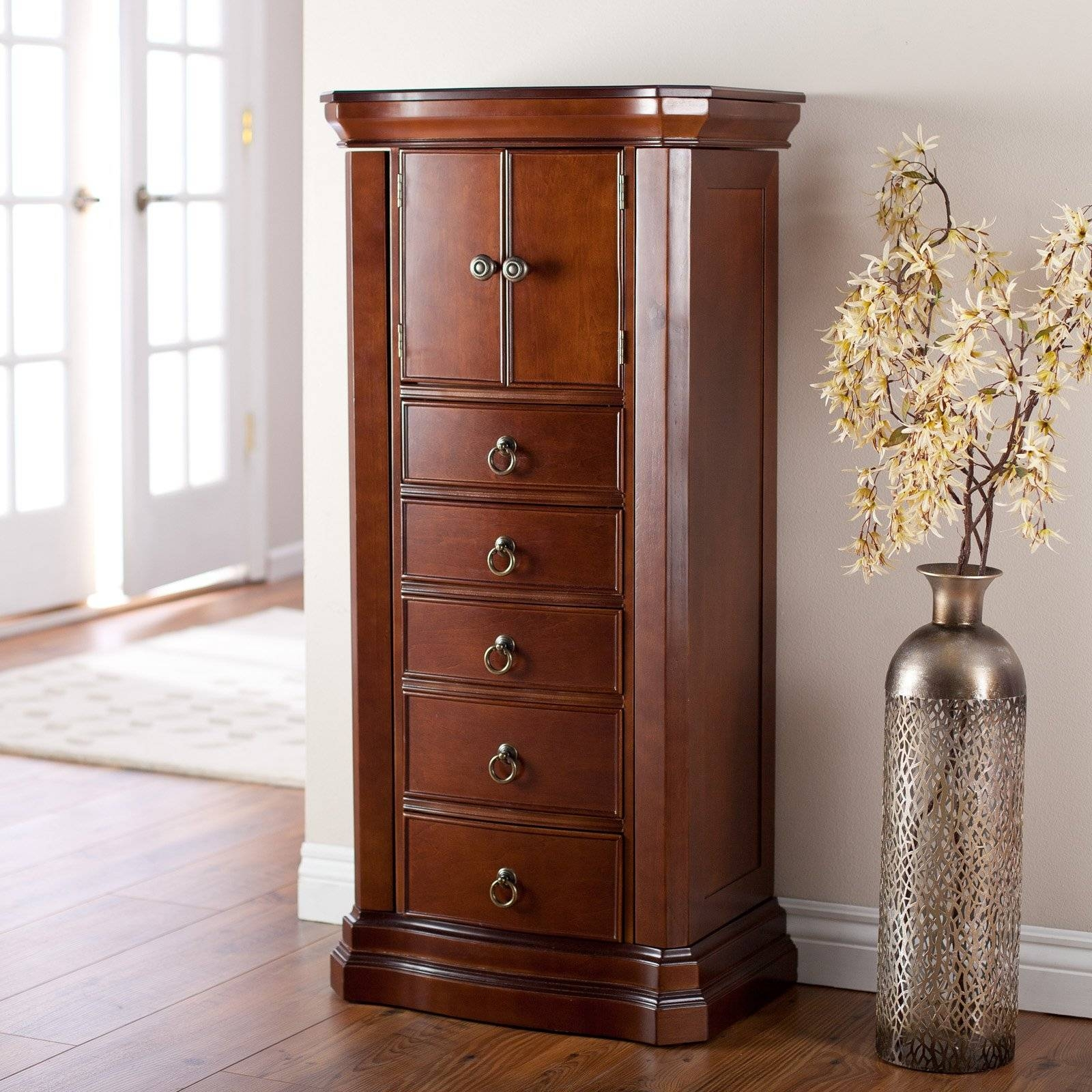 Furniture: Elegant Standing Jewelry Armoire For Home Furniture inside Free Standing Mirrors With Drawer (Image 18 of 25)