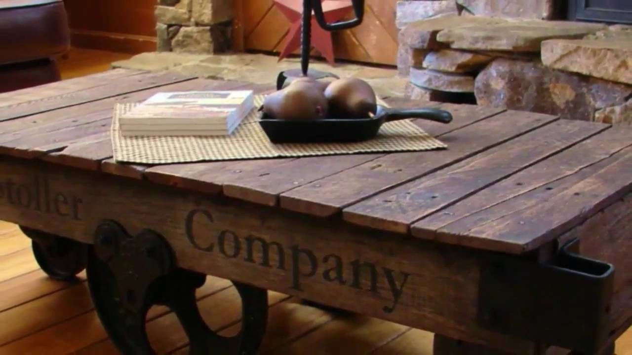 Furniture. Enchanting Rustic Coffee Table Set Ideas: Brown pertaining to Rustic Coffee Table With Wheels (Image 9 of 30)