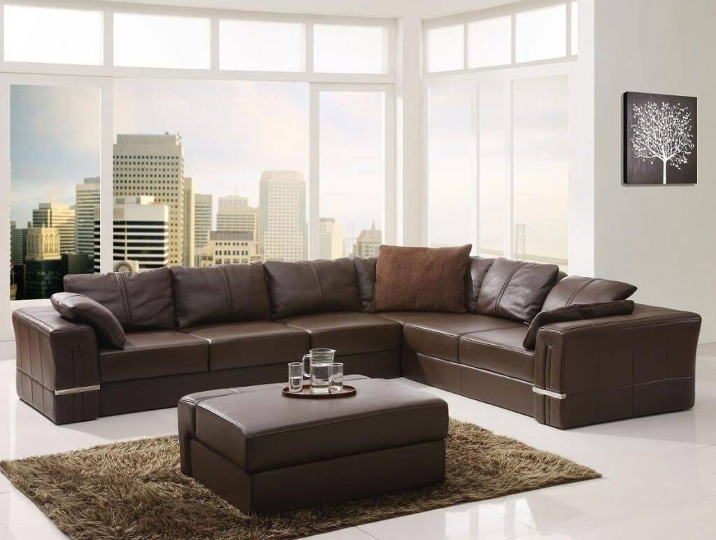 Furniture: Espresso Large Leather Sectional Sofa In L Shaped Mid for Large Black Leather Corner Sofas (Image 10 of 30)