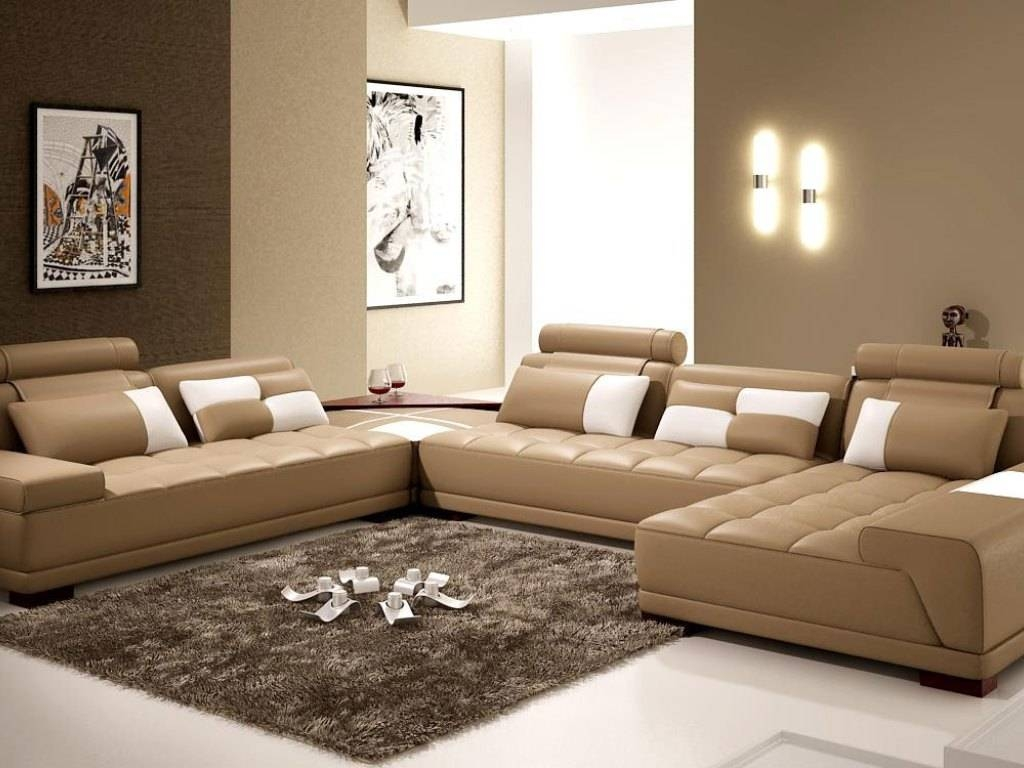 Furniture: Excellent Beige Sectional Sofa For Your Living Room pertaining to Abbyson Living Charlotte Dark Brown Sectional Sofa And Ottoman (Image 16 of 30)