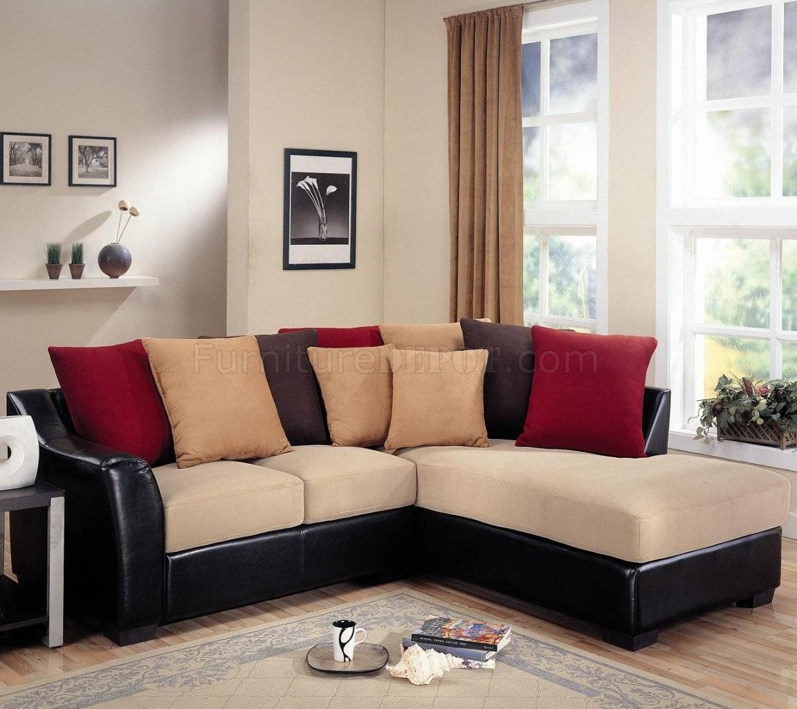 Furniture: Excellent Beige Sectional Sofa For Your Living Room regarding Leather and Suede Sectional Sofa (Image 6 of 25)