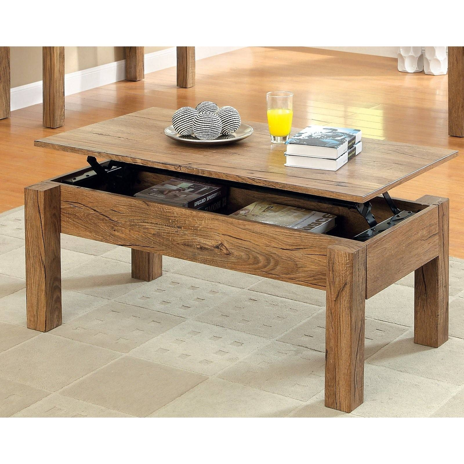 Furniture Extraordinary Rustic Storage Coffee Table Ideas: Brown regarding Wooden Storage Coffee Tables (Image 9 of 30)