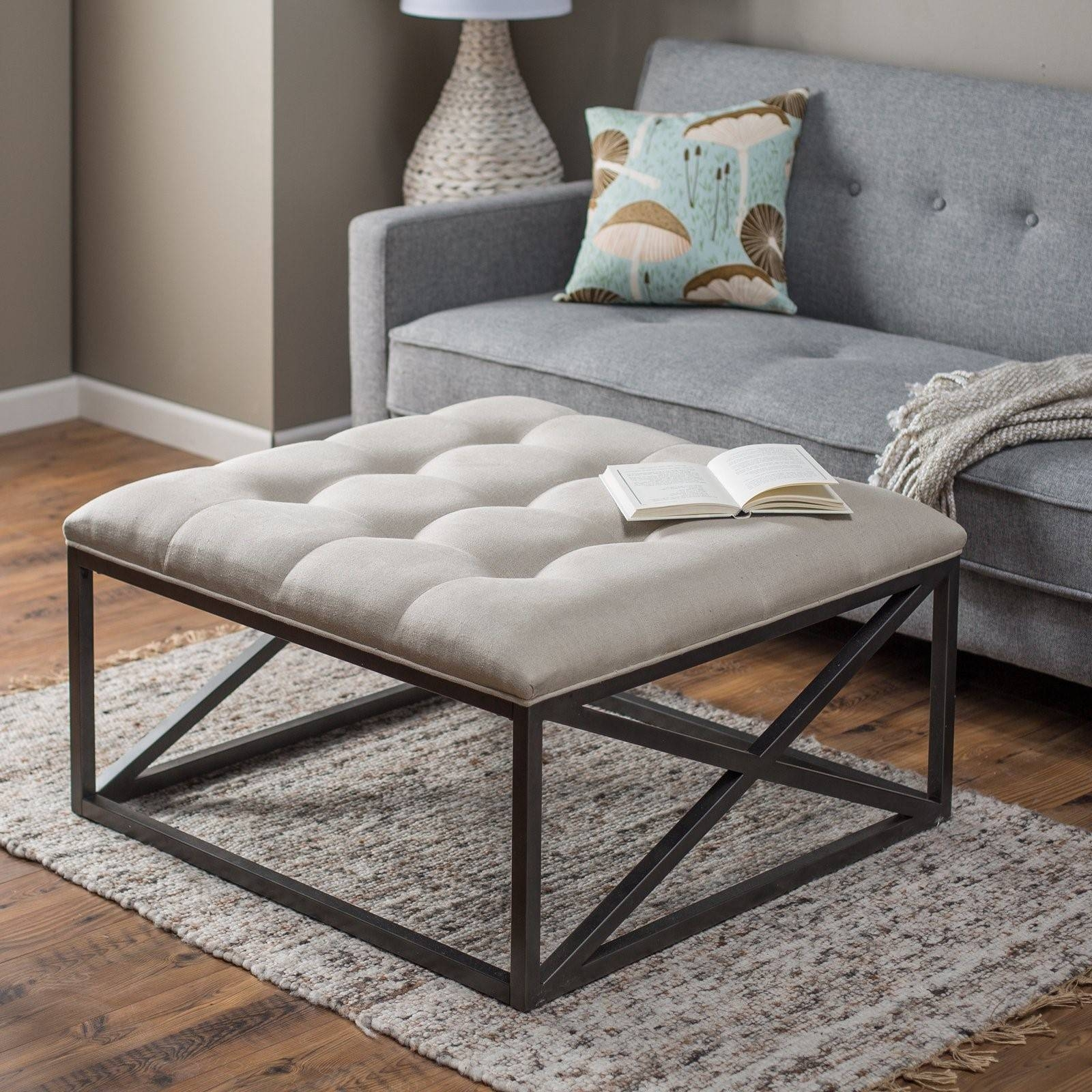 Furniture. Fabric Coffee Table Ideas: Beige Low Square Traditional inside Fabric Coffee Tables (Image 17 of 30)