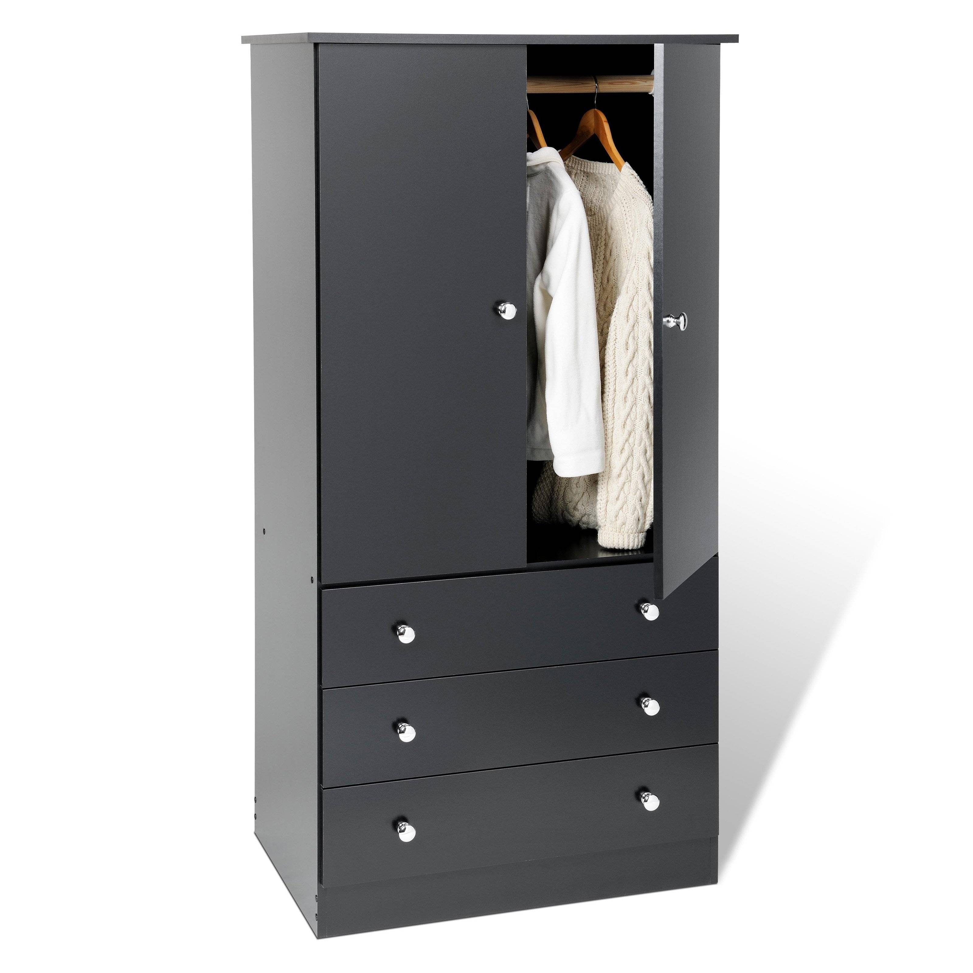 Furniture: Fancy Wardrobe Armoire For Wardrobe Organizer Idea inside Black French Wardrobes (Image 10 of 15)