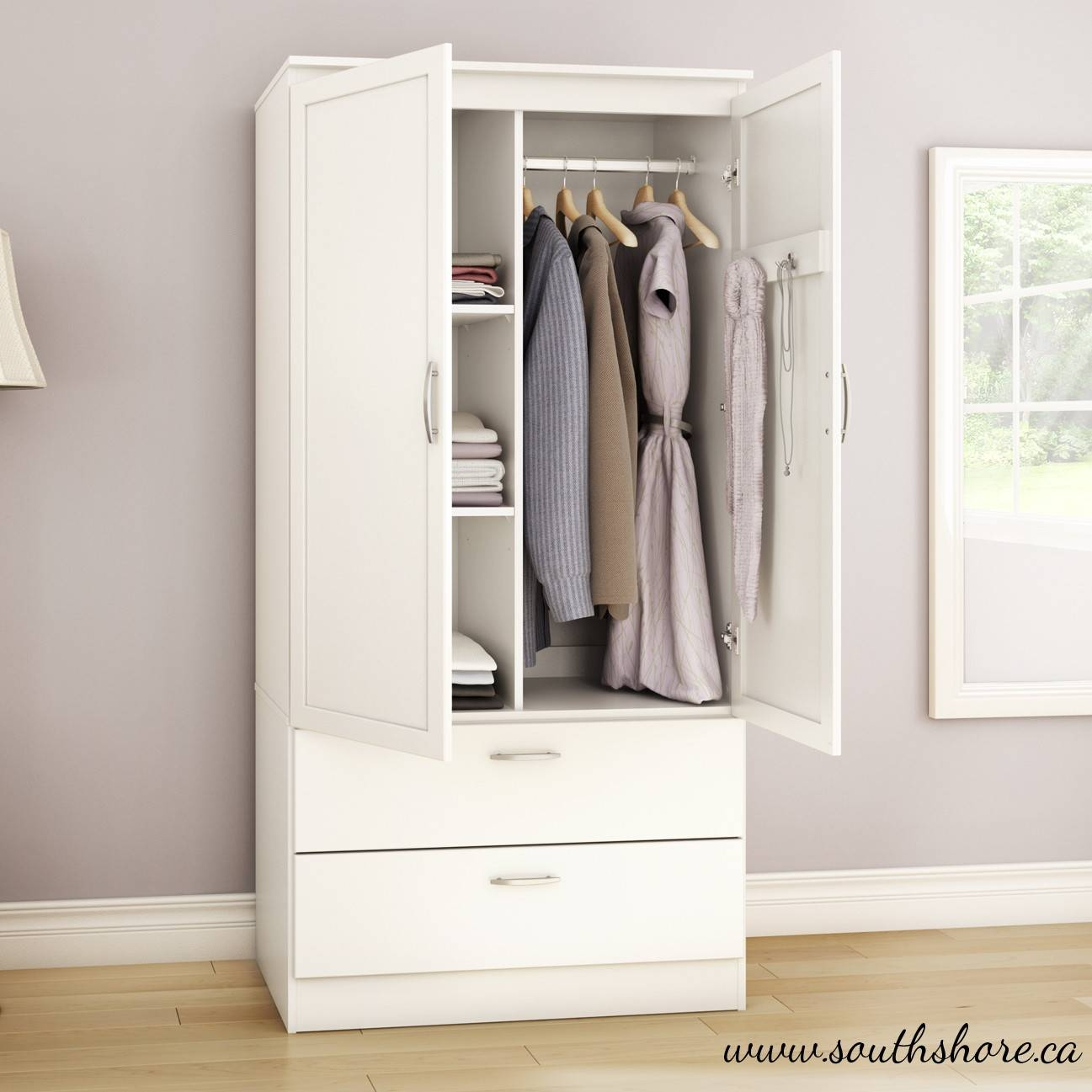 Furniture: Fancy Wardrobe Armoire For Wardrobe Organizer Idea pertaining to Cheap Wardrobes With Drawers (Image 5 of 15)