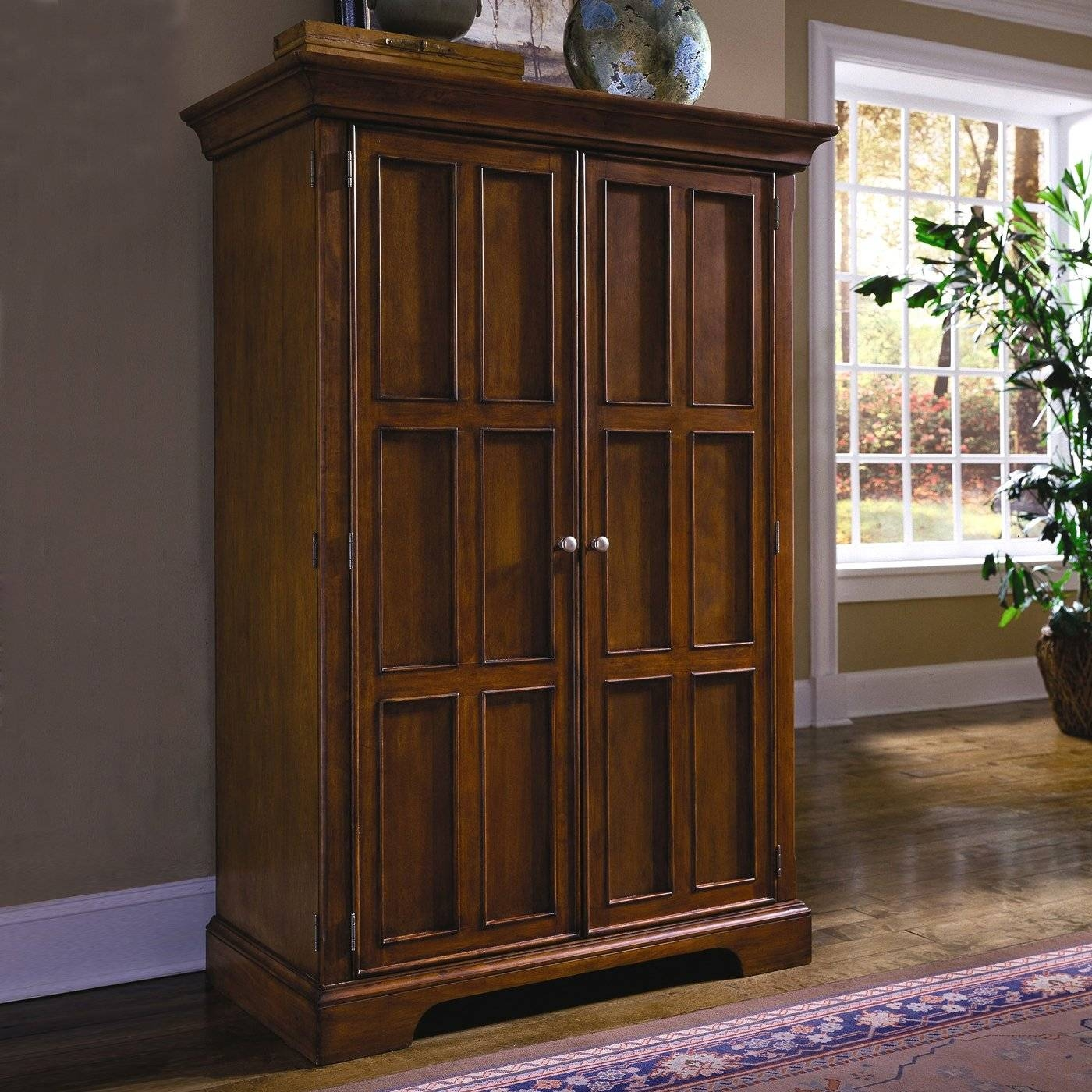 Furniture: Fancy Wardrobe Armoire For Wardrobe Organizer Idea throughout Dark Wood Wardrobes Armoires (Image 17 of 30)