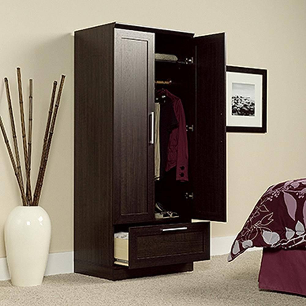 Furniture: Fancy Wardrobe Armoire For Wardrobe Organizer Idea within Cheap Wooden Wardrobes (Image 6 of 15)