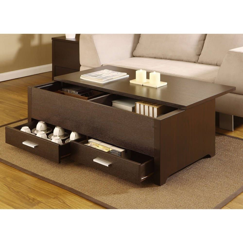 Furniture : Fantastic Brown Textured Wood Folding Coffee Table throughout Coffee Tables With Box Storage (Image 10 of 30)