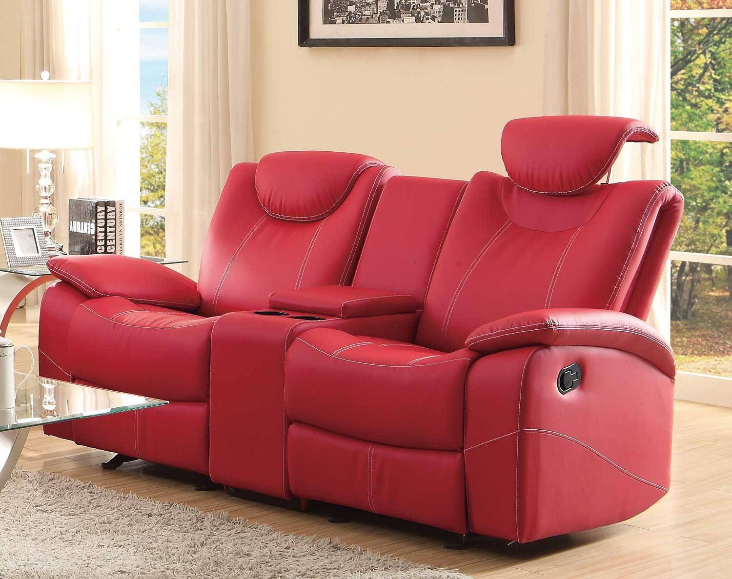 Furniture: Glamour Reclining Loveseat With Center Console For with regard to Modern Reclining Leather Sofas (Image 9 of 30)