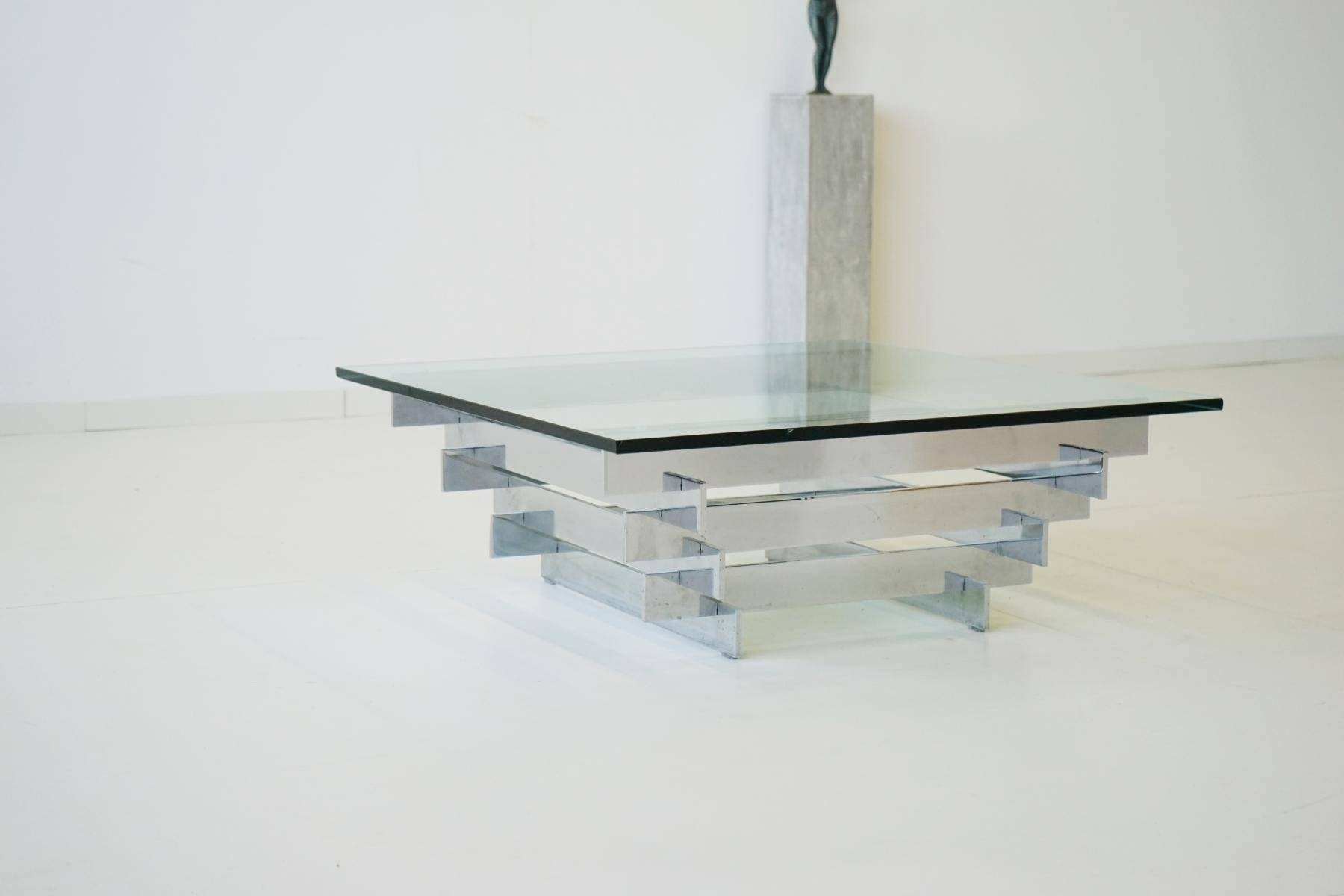 Furniture Glass And Chrome Coffee Table Ideas: Silver Rectangle inside Rectangle Glass Chrome Coffee Tables (Image 21 of 30)