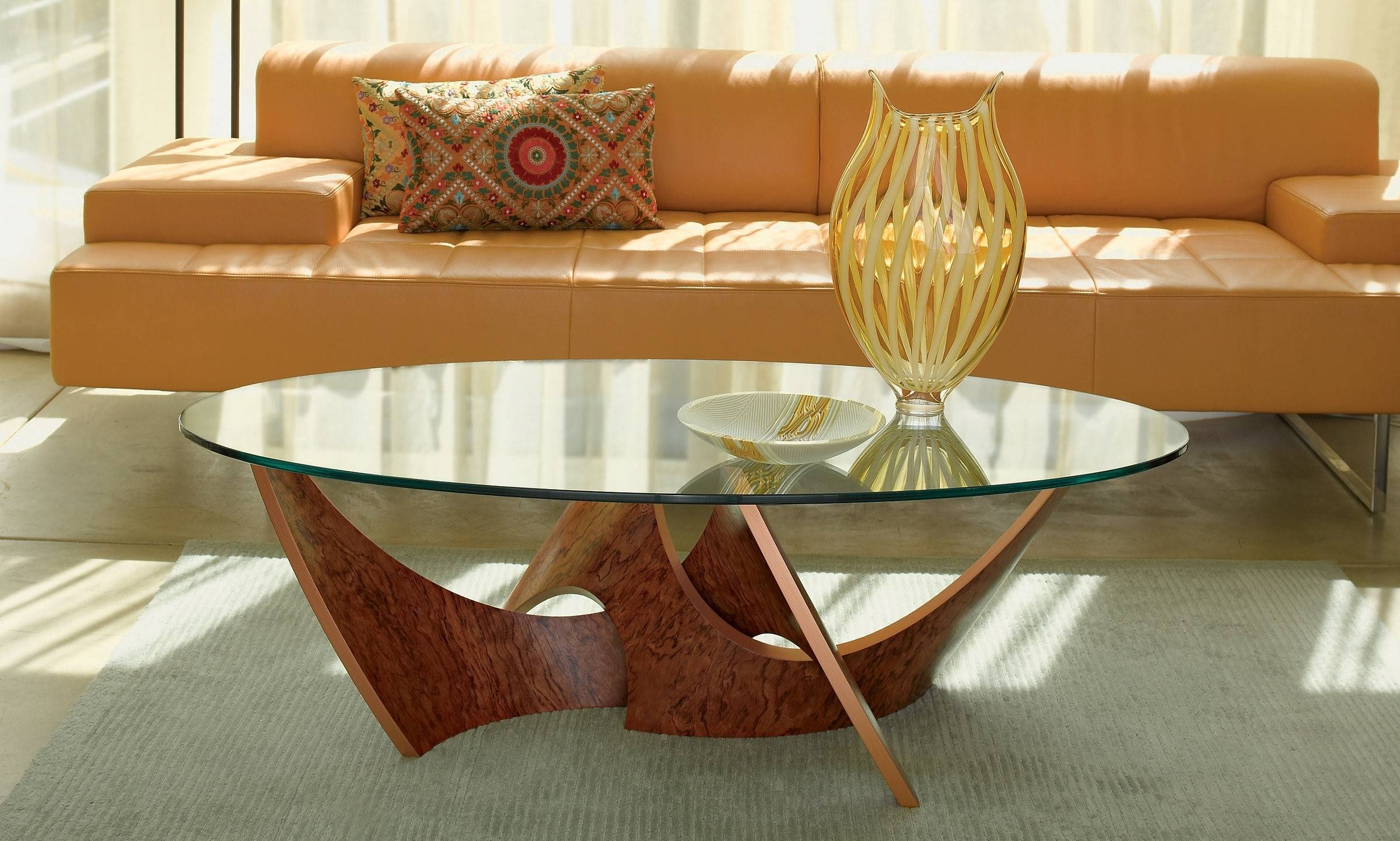 Furniture. Glass And Wood Coffee Tables Ideas: Brown Oval Unique with Oval Glass and Wood Coffee Tables (Image 11 of 30)