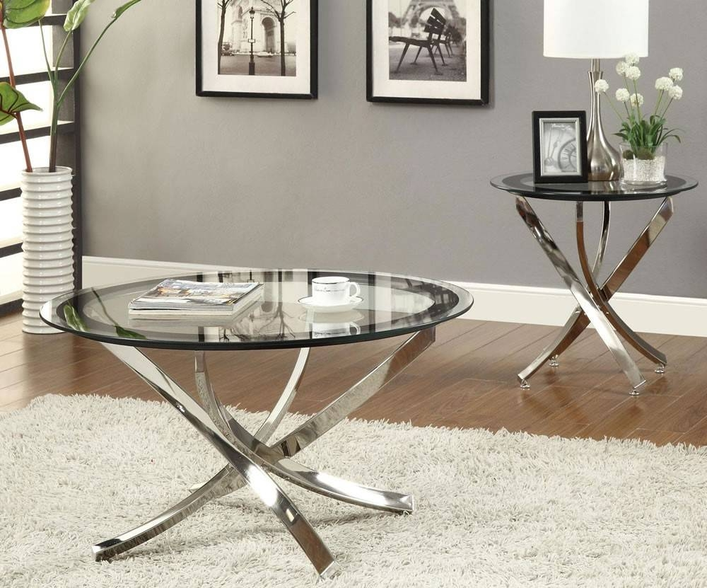 Furniture Glass Coffee Table Set Ideas: Glossy Silver Metal Legs in Metal Glass Coffee Tables (Image 15 of 30)