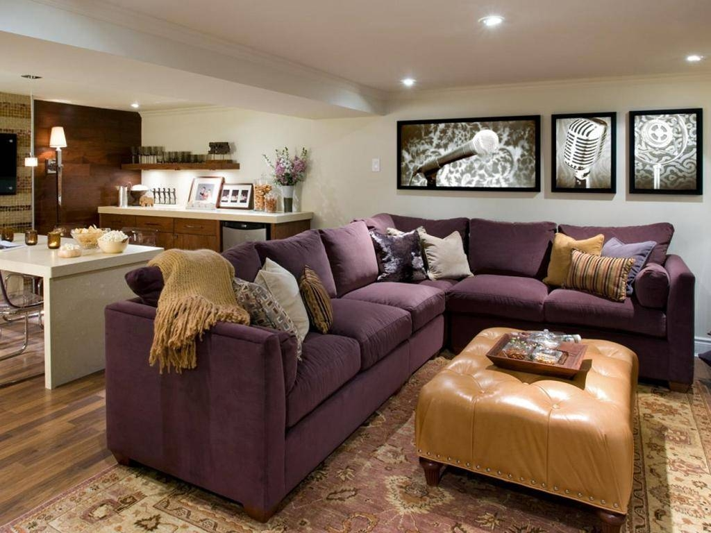 Furniture : Gorgeous Cozy Basement Living Room Ideas With L Shape Intended For Purple Ottoman Coffee Tables (Photo 7 of 30)