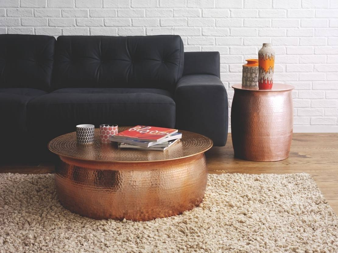 Furniture. Hammered Coffee Table Ideas: Silver Round Modern with regard to Hammered Silver Coffee Tables (Image 12 of 30)
