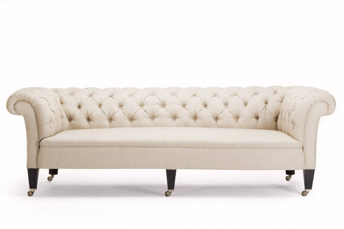 Furniture: Have A Luxury Living Room With The Elegant Chesterfield regarding White Fabric Sofas (Image 17 of 30)