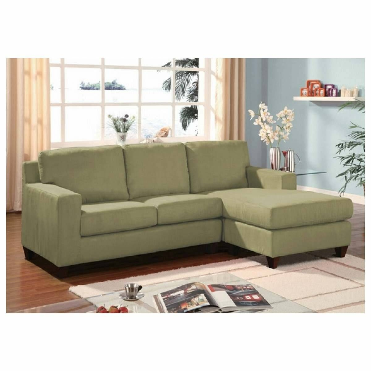 Furniture Home : Green Microfiber Reversible Sectional Sofa With inside Green Sectional Sofa With Chaise (Image 7 of 30)