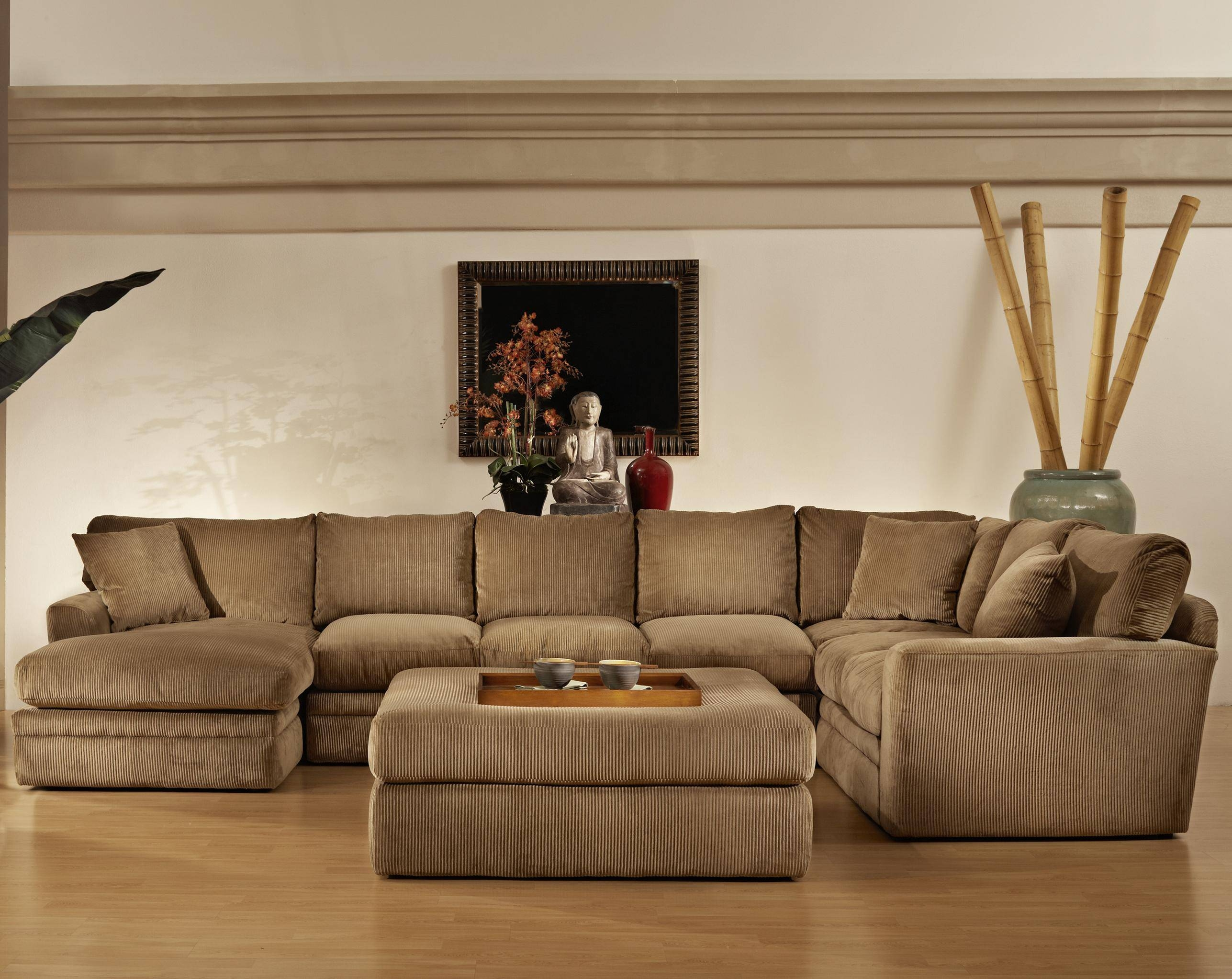Furniture: Interesting Living Room Interior Using Large Sectional regarding Sectional Sofa With Large Ottoman (Image 10 of 30)